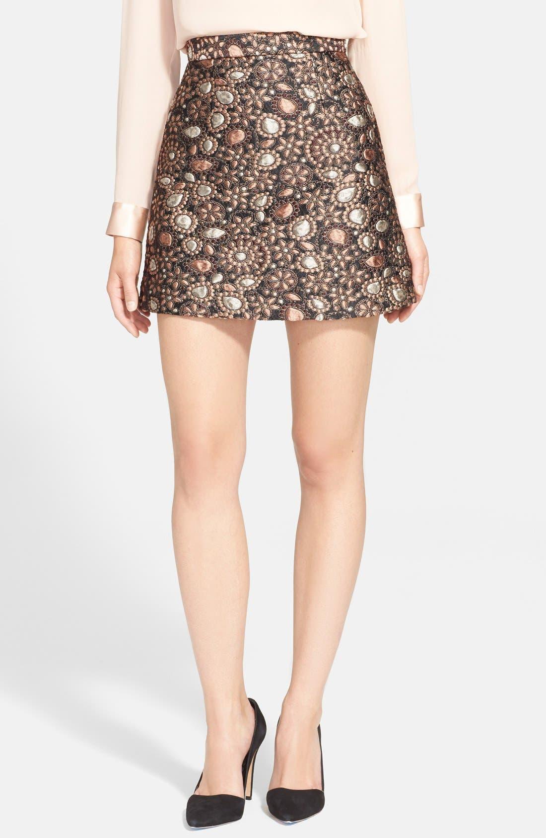 ALICE + OLIVIA, 'Jessa' A-Line Skirt, Main thumbnail 1, color, 716