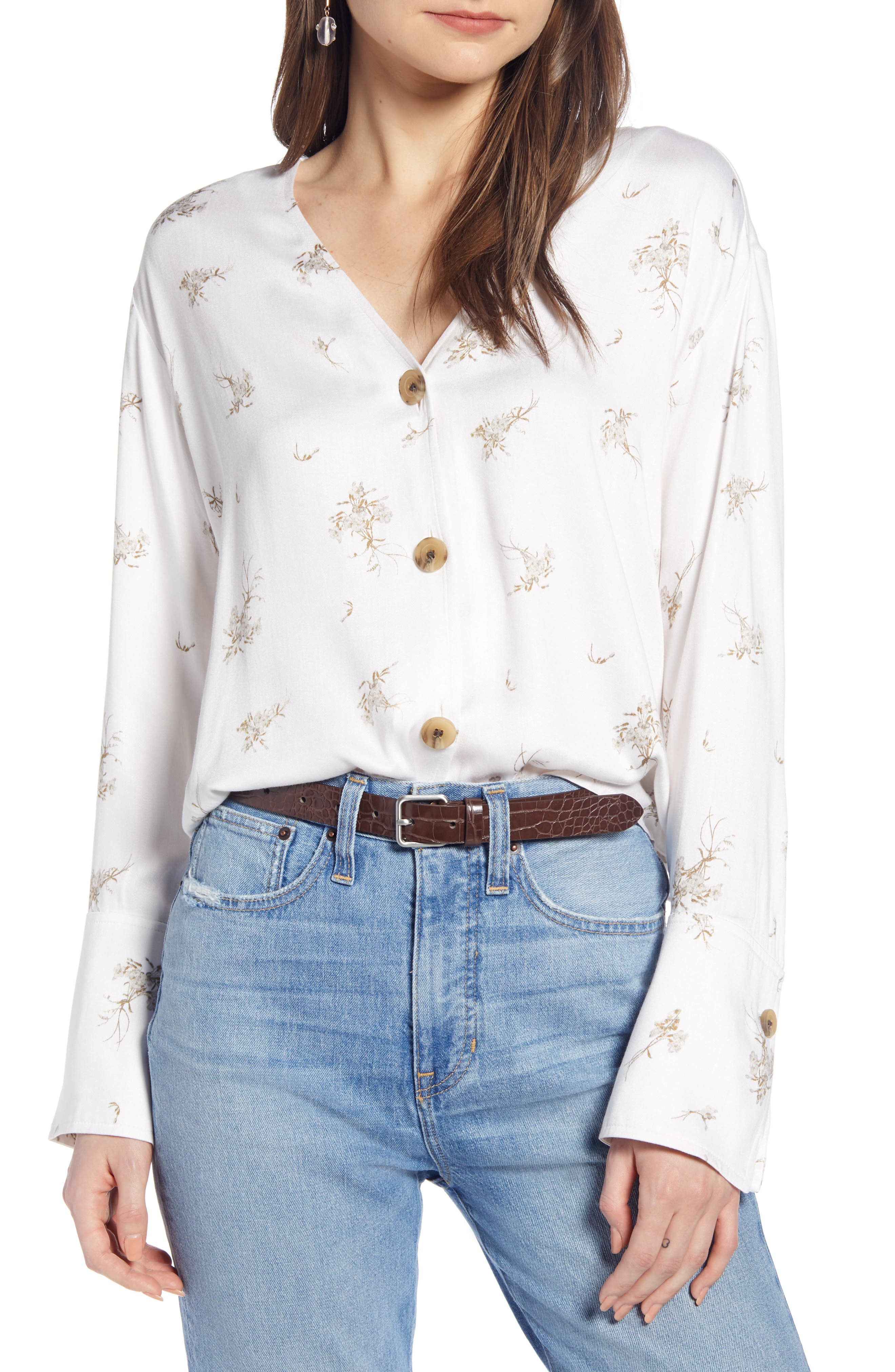 SOMETHING NAVY Pretty Button Through Top, Main, color, PINK SEA SALT FORGET ME NOT