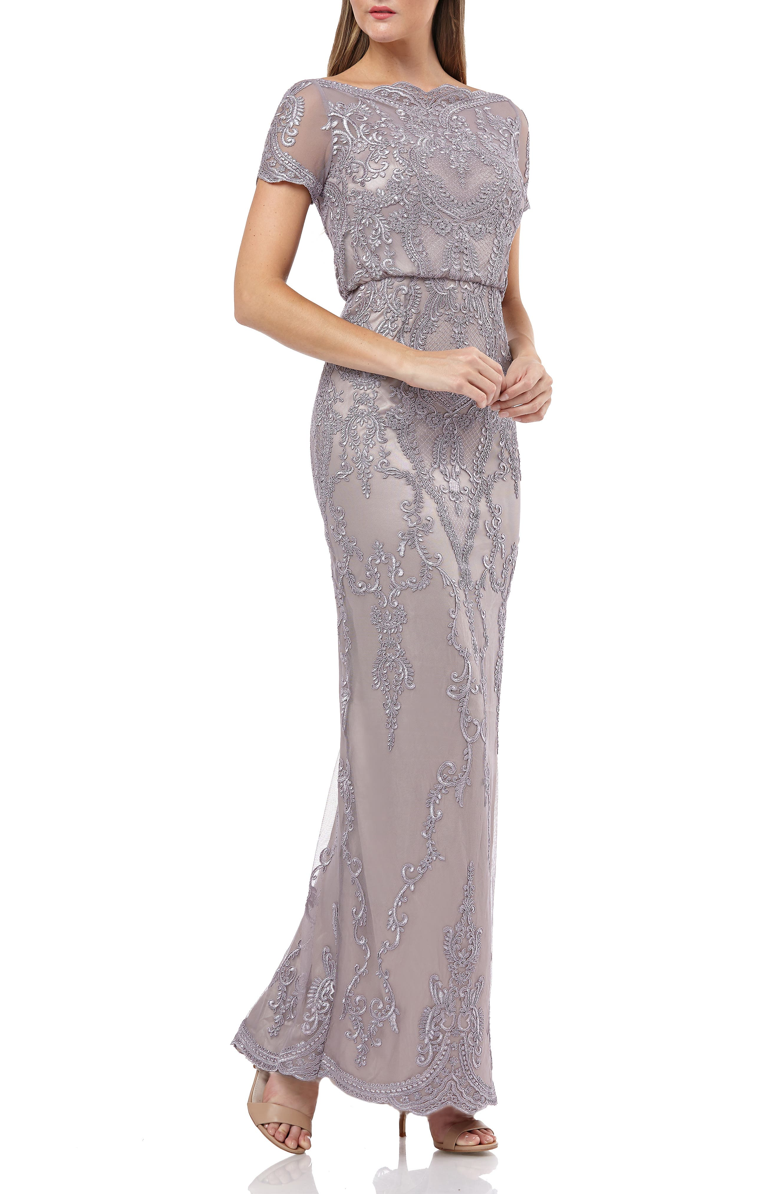 Js Collections Scallop Embroidered Blouson Evening Dress, Purple