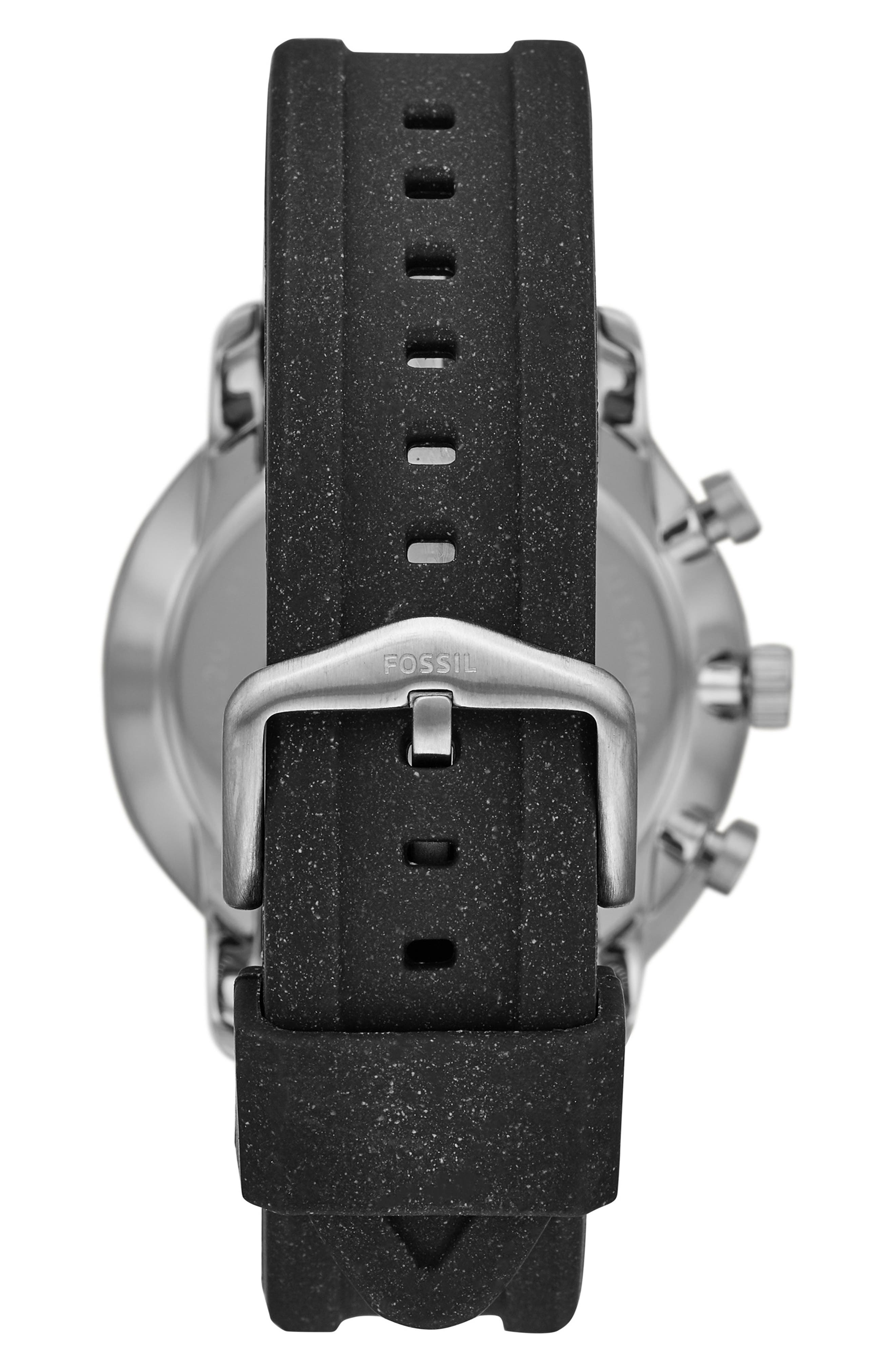 FOSSIL, Goodwin Chronometer Silicone Strap Watch, 44mm, Alternate thumbnail 2, color, 001