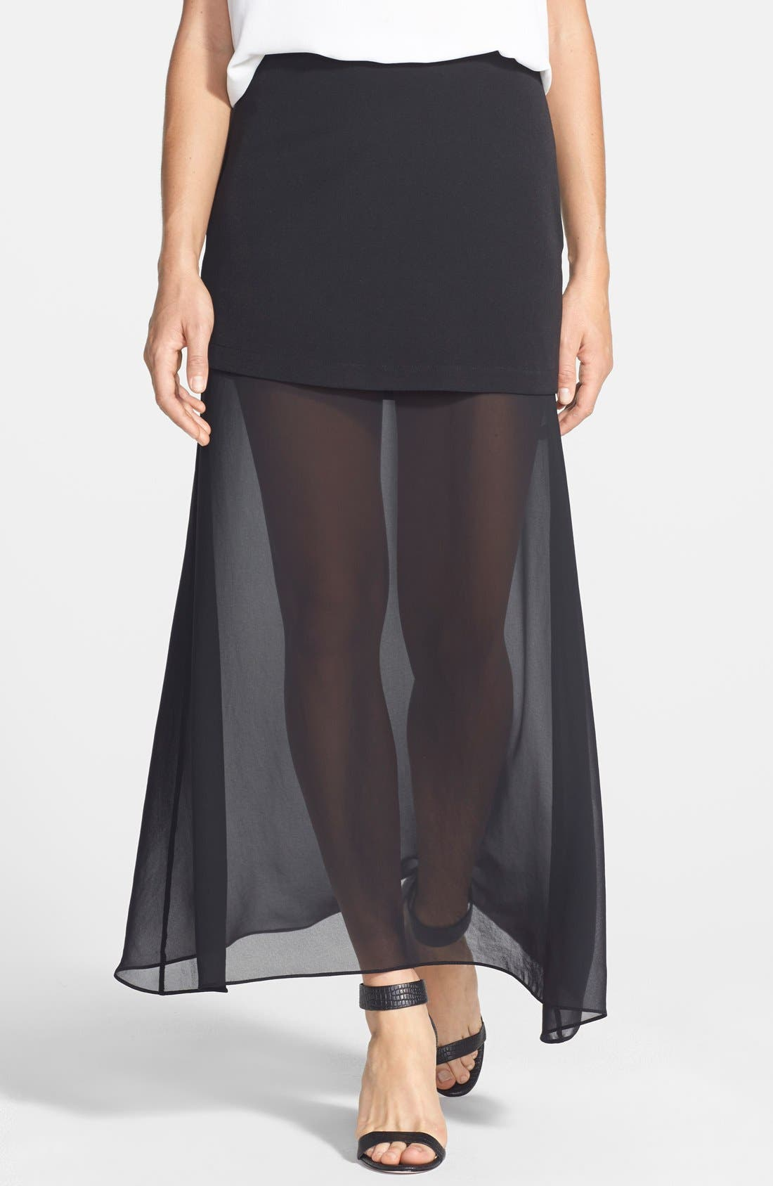 NIKKI RICH 'Hematite' Chiffon Underlayer Skirt, Main, color, 001