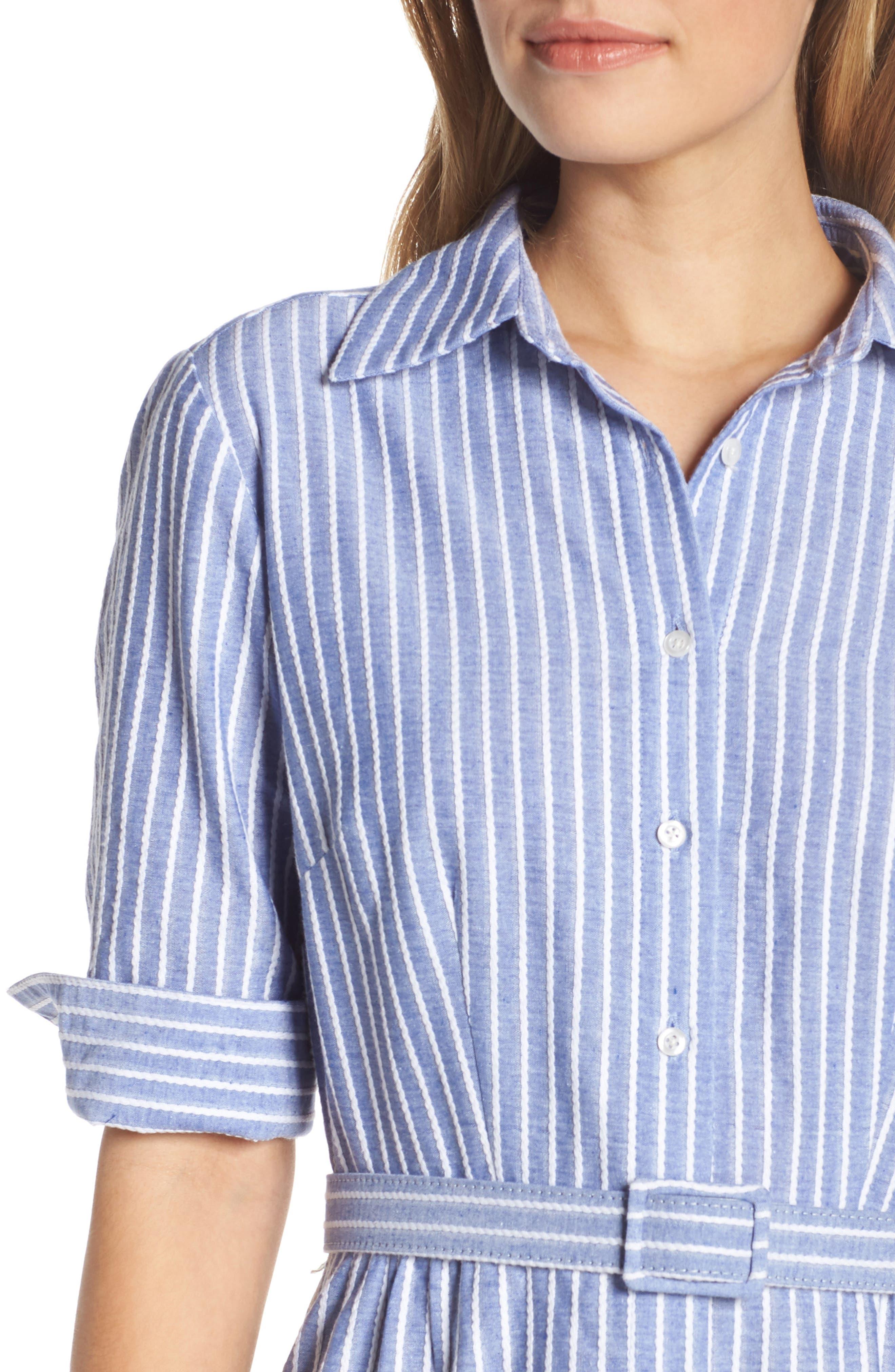 1901, Stripe Belted Shirtdress, Alternate thumbnail 5, color, DENIM