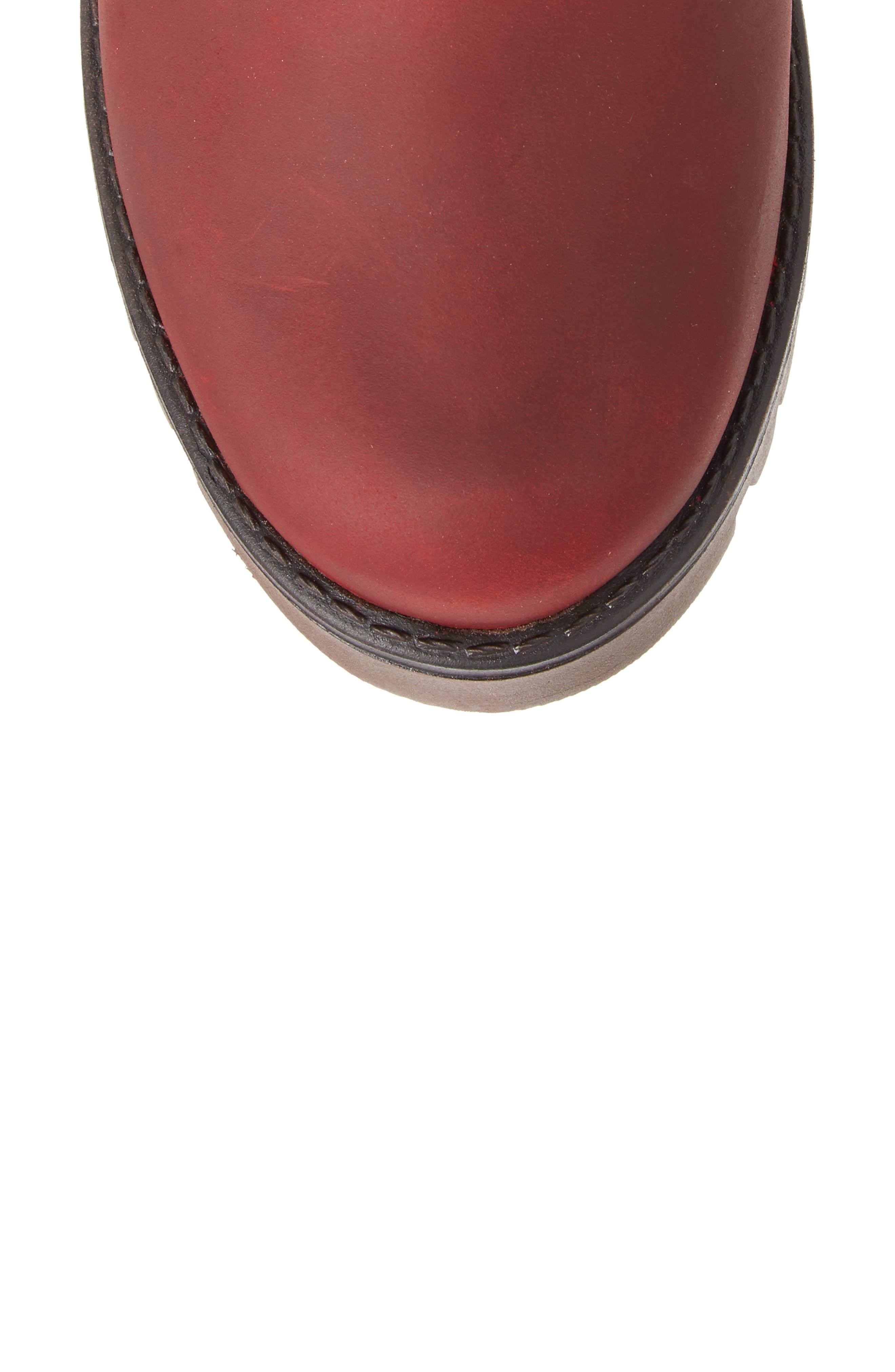 BOS. & CO., 'Ginger' Waterproof Mid Calf Platform Boot, Alternate thumbnail 5, color, RED/ SCARLET WOOL