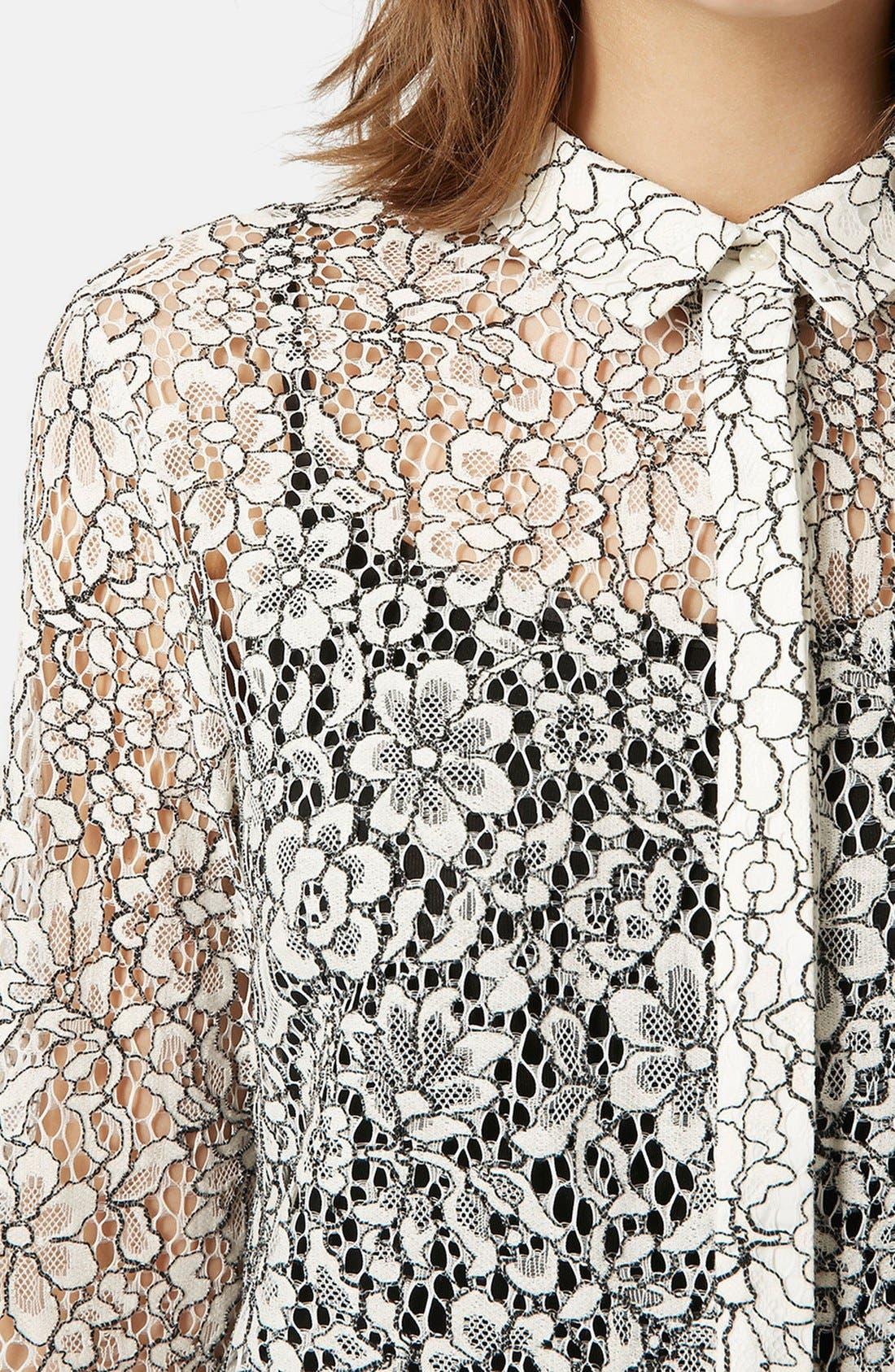TOPSHOP, Scallop Lace Shirt, Alternate thumbnail 3, color, 900