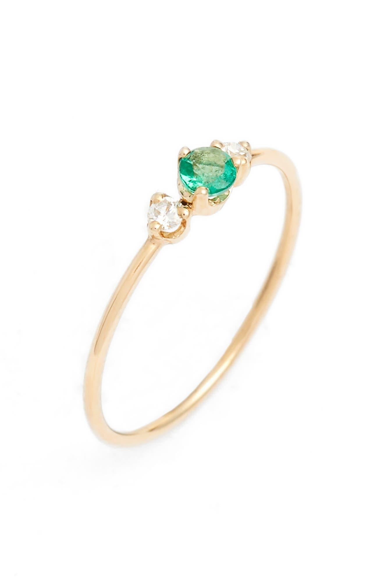 ZOË CHICCO, Emerald & Diamond Stack Ring, Main thumbnail 1, color, YELLOW GOLD/ EMERALD