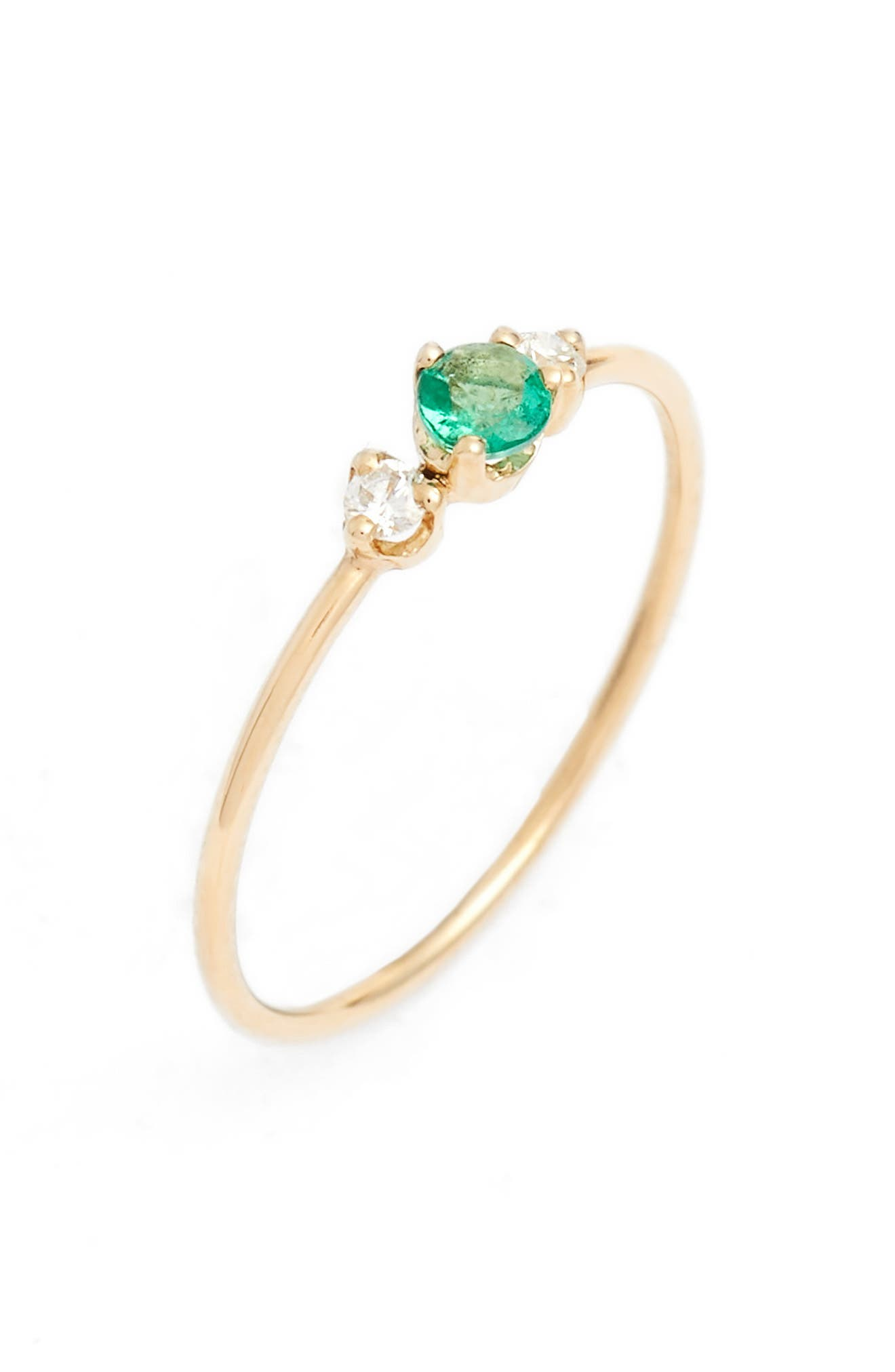 ZOË CHICCO Emerald & Diamond Stack Ring, Main, color, YELLOW GOLD/ EMERALD
