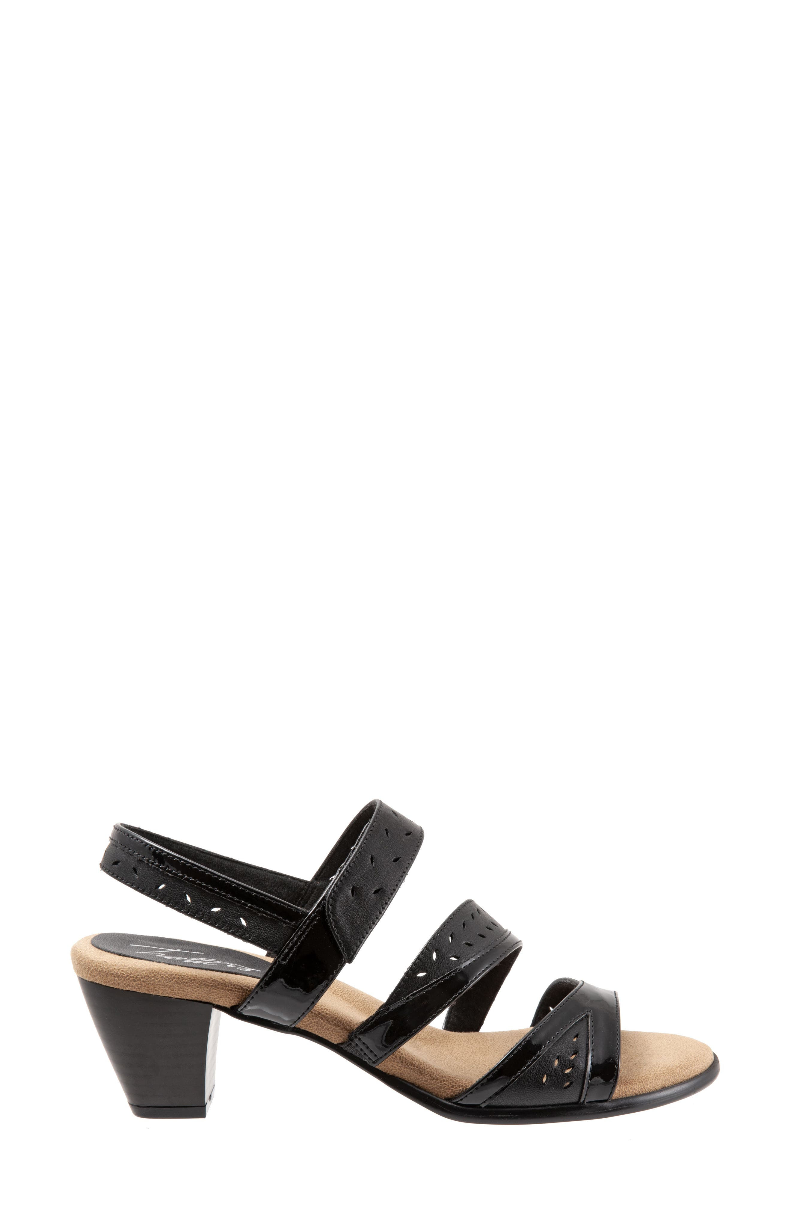 TROTTERS, Marvie Perforated Strappy Sandal, Alternate thumbnail 3, color, BLACK LEATHER