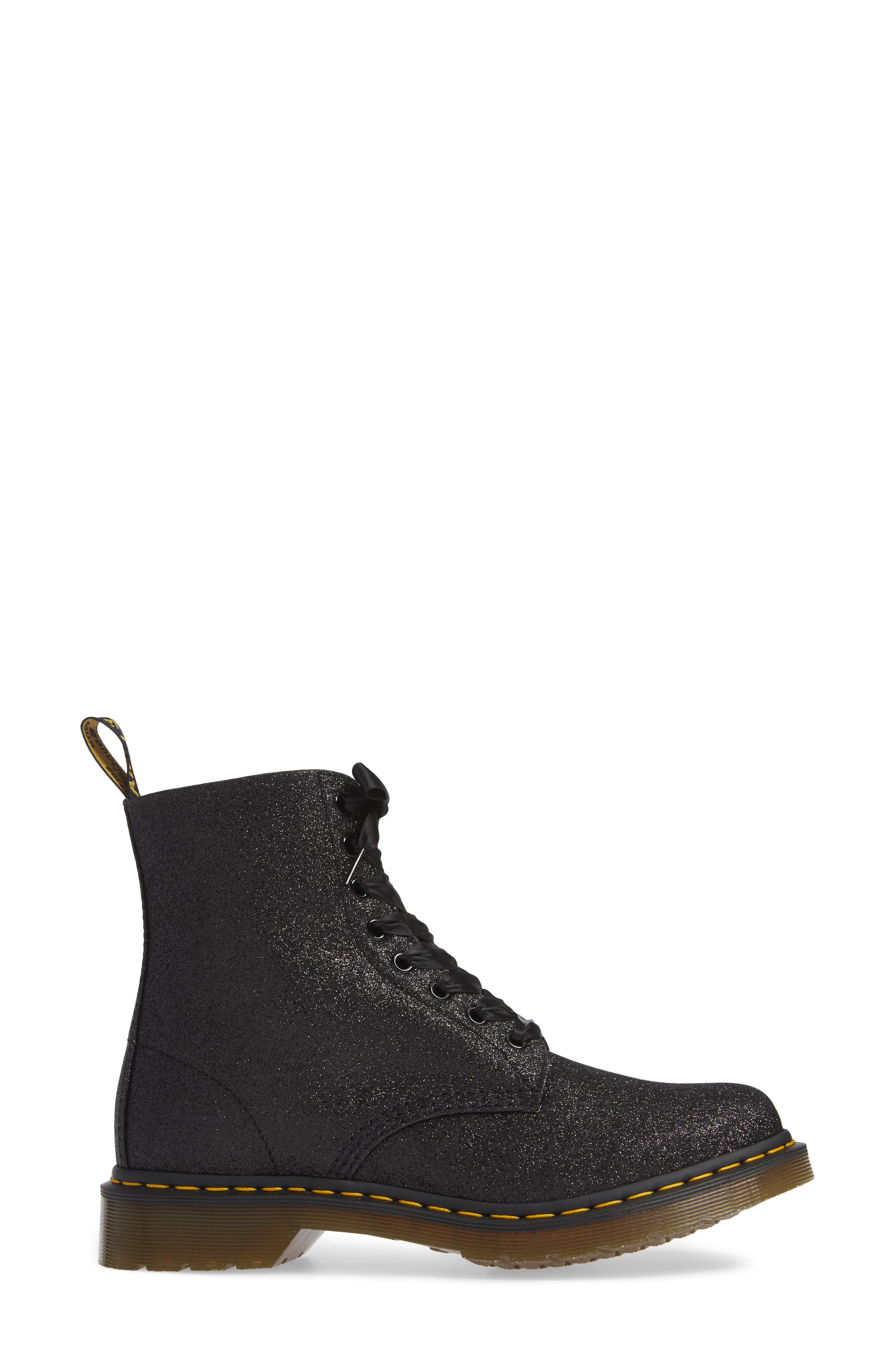 DR. MARTENS, 1460 Pascal Glitter Boot, Alternate thumbnail 3, color, BLACK
