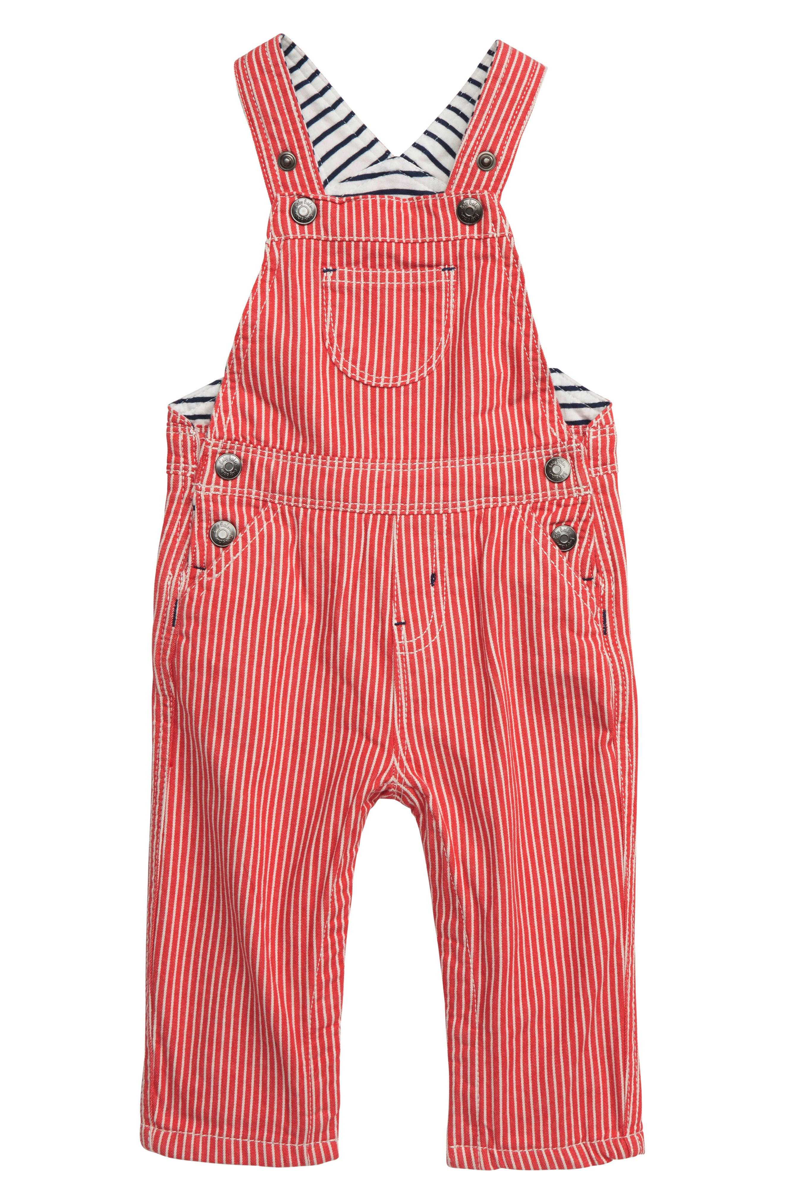 MINI BODEN, Stripe Overalls, Main thumbnail 1, color, RED BEAM RED TICKING STRIPE
