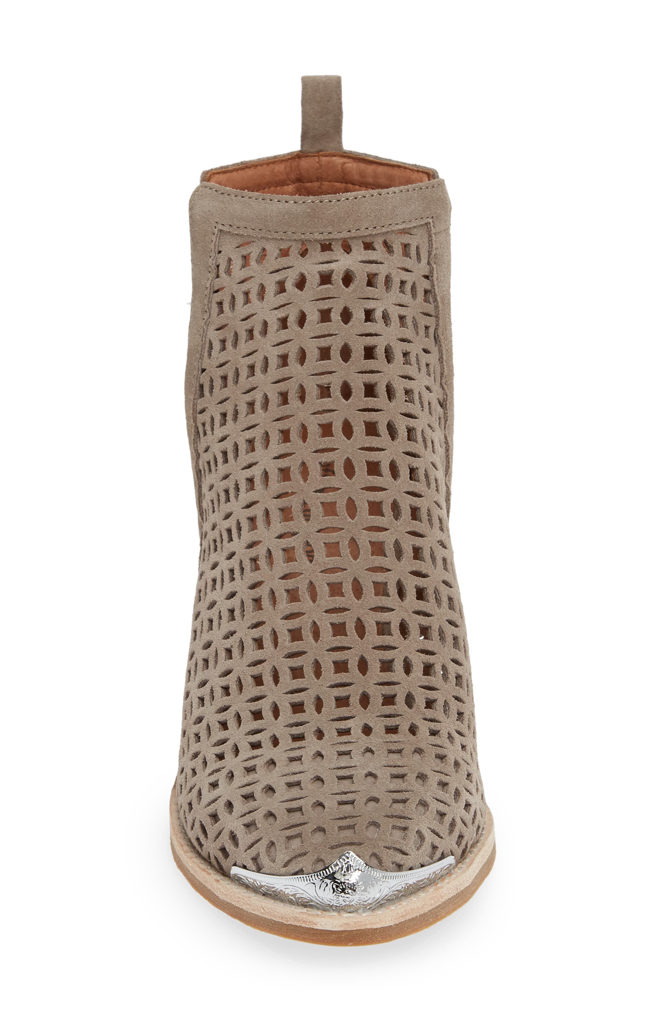 JEFFREY CAMPBELL, Cromwell-C2 Perforated Bootie, Alternate thumbnail 4, color, TAUPE SUEDE