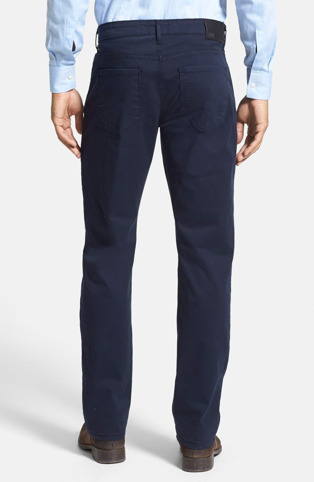 PAIGE, Normandie Slim Straight Leg Twill Pants, Alternate thumbnail 5, color, NAVY CADET