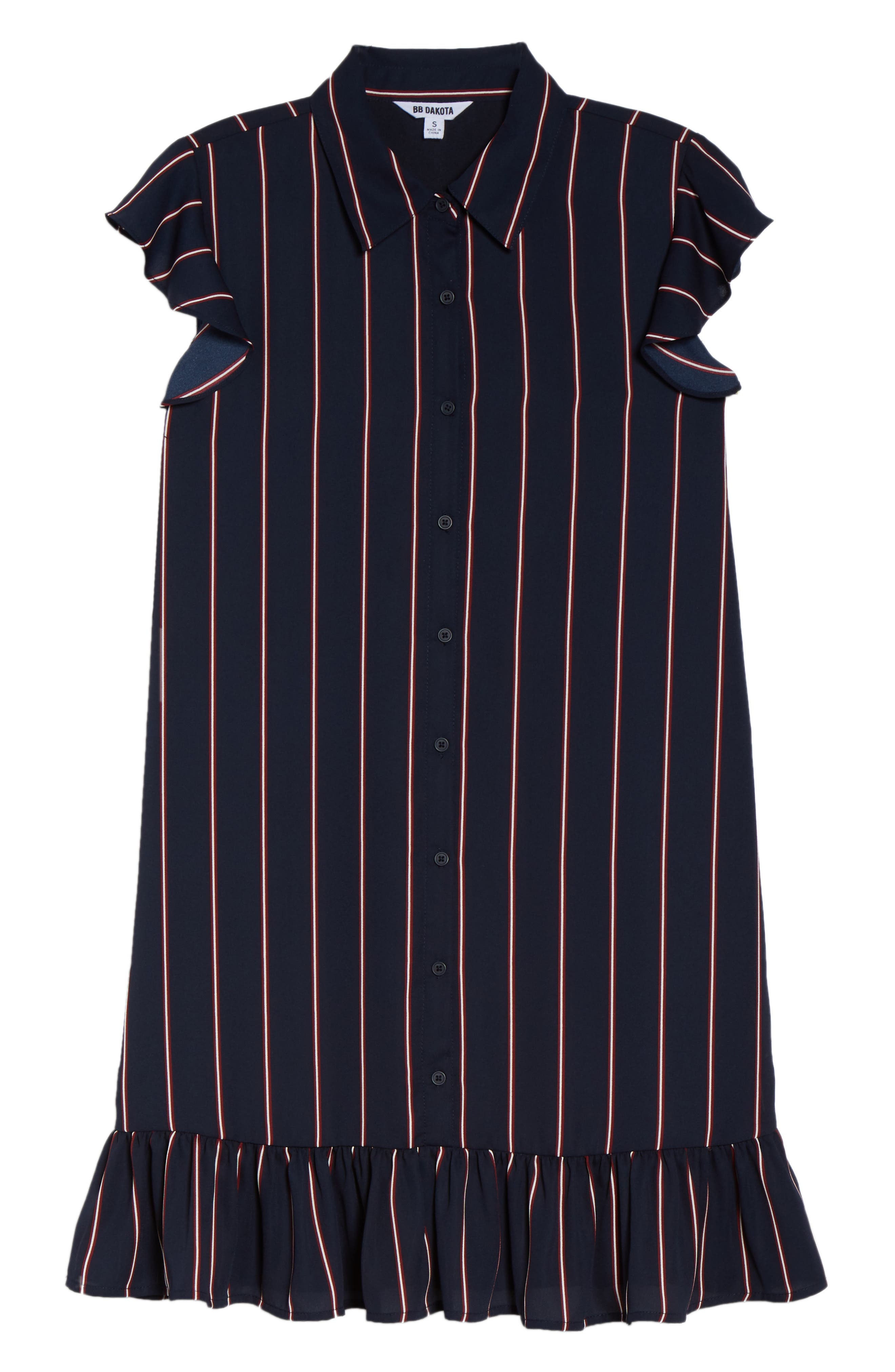 BB DAKOTA, American Pie Stripe Shirtdress, Alternate thumbnail 7, color, MIDNIGHT SKY