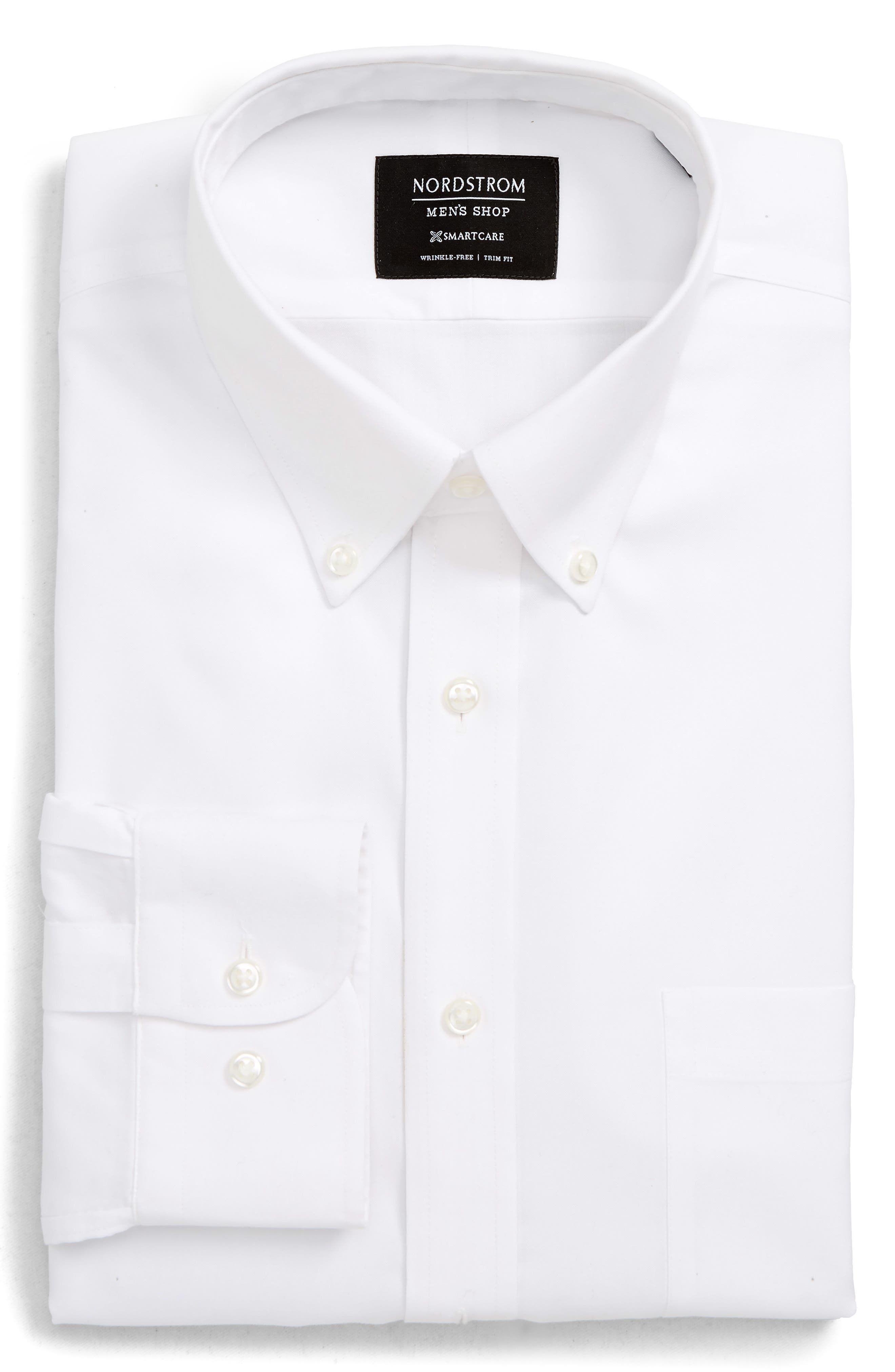 NORDSTROM MEN'S SHOP, Smartcare<sup>™</sup> Trim Fit Dress Shirt, Main thumbnail 1, color, WHITE BRILLIANT