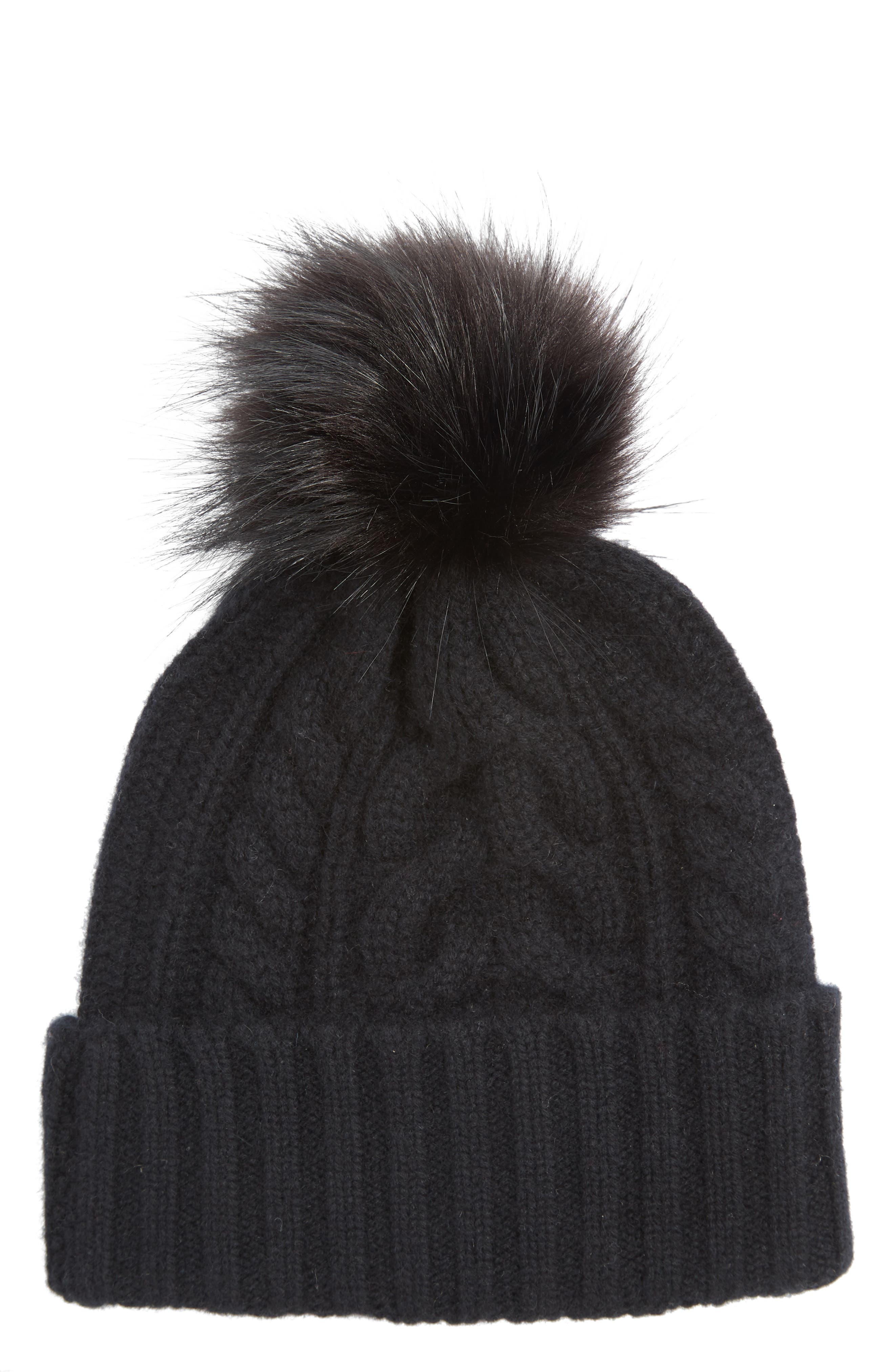 HALOGEN<SUP>®</SUP> Cashmere Cable Knit Beanie with Faux Fur Pom, Main, color, 001