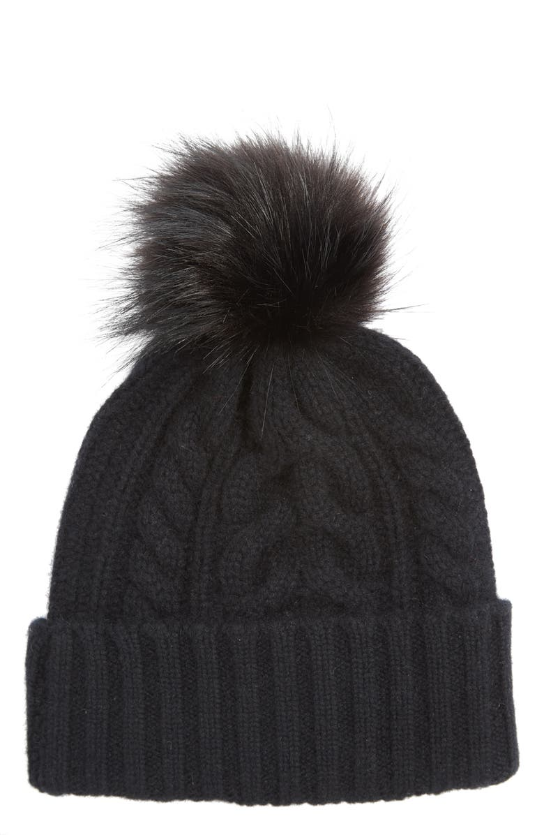 6f3bb9be602 HALOGEN SUP ®  SUP  Cashmere Cable Knit Beanie with Faux Fur