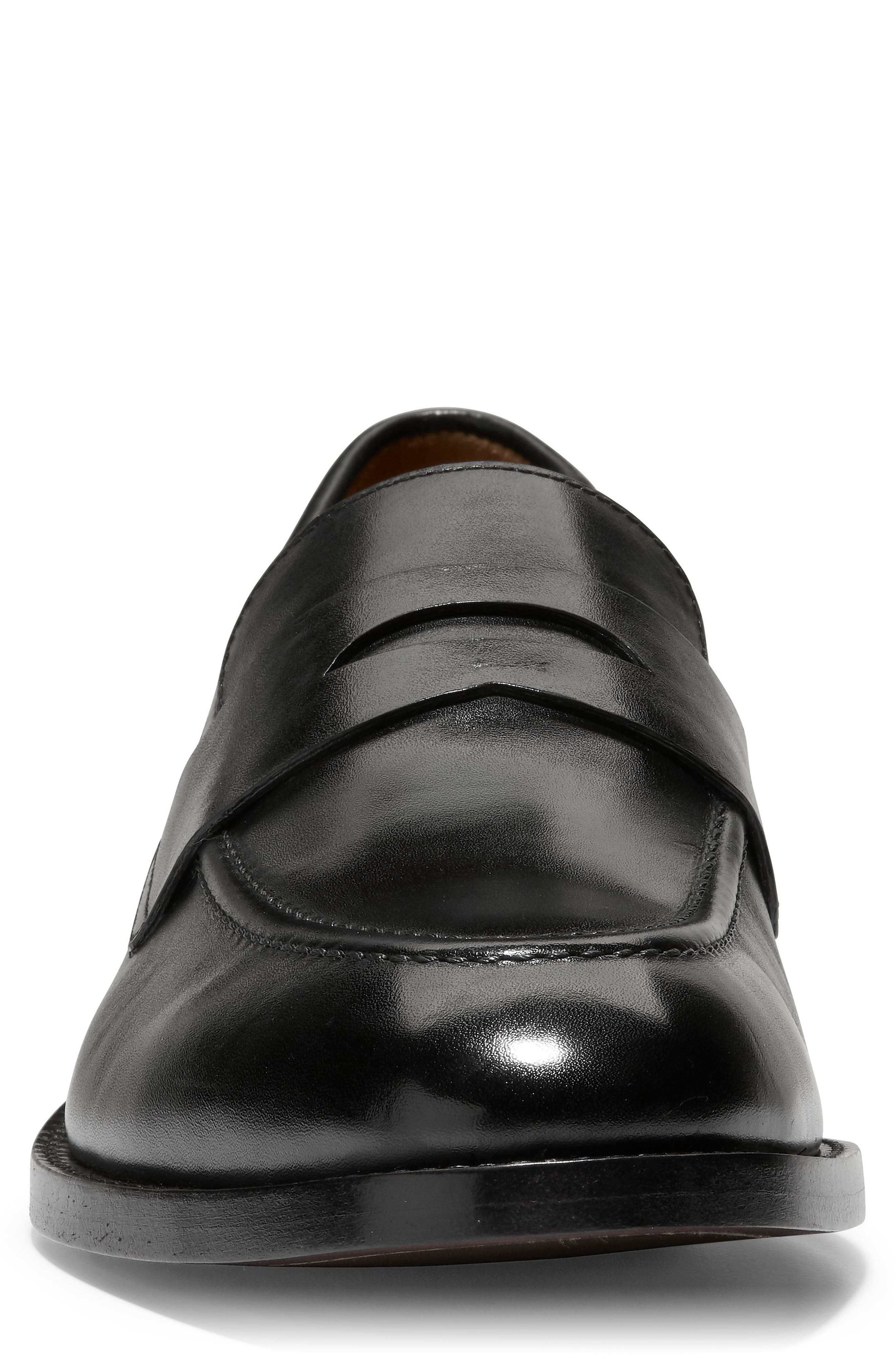 COLE HAAN, American Classics Kneeland Penny Loafer, Alternate thumbnail 4, color, BLACK LEATHER