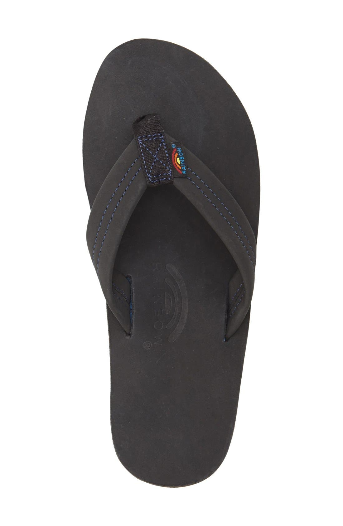 RAINBOW<SUP>®</SUP>, Rainbow '301Blue' Flip Flop, Alternate thumbnail 4, color, PREMIER BLACK/ BLUE MIDSOLE