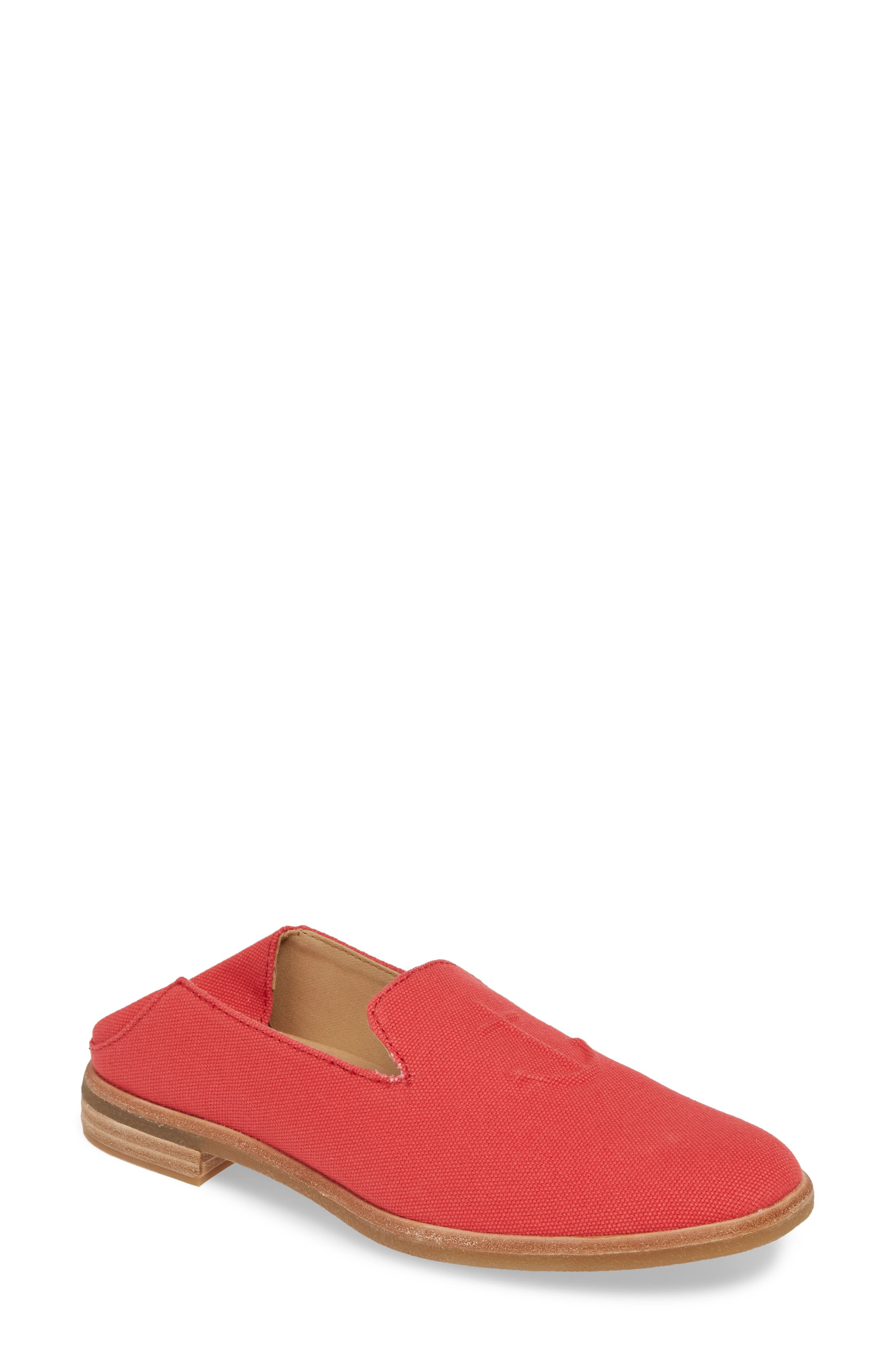 SPERRY Seaport Levy Flat, Main, color, RED CANVAS