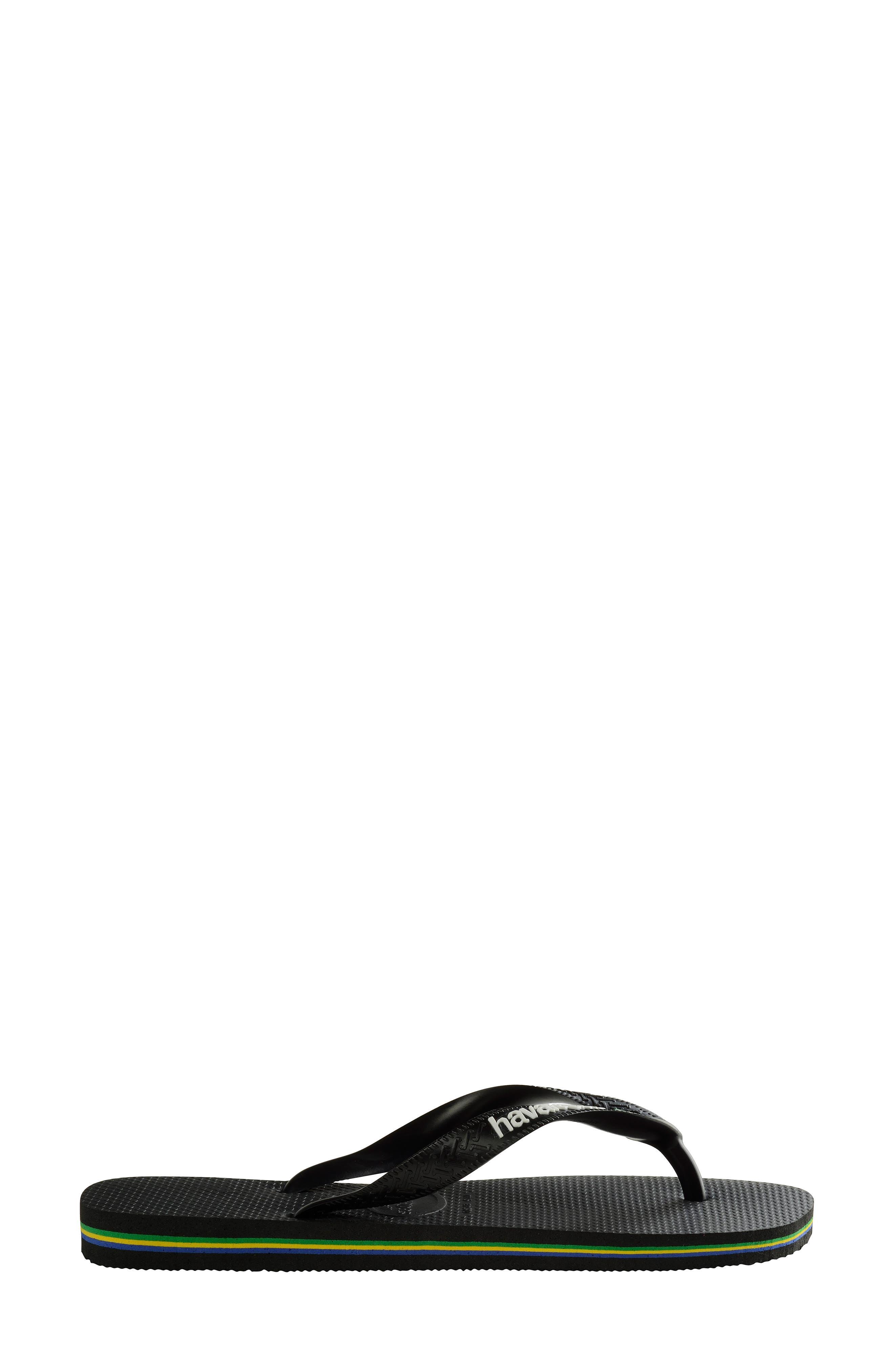 HAVAIANAS, Brazil Flip Flop, Alternate thumbnail 3, color, BLACK/ BLACK
