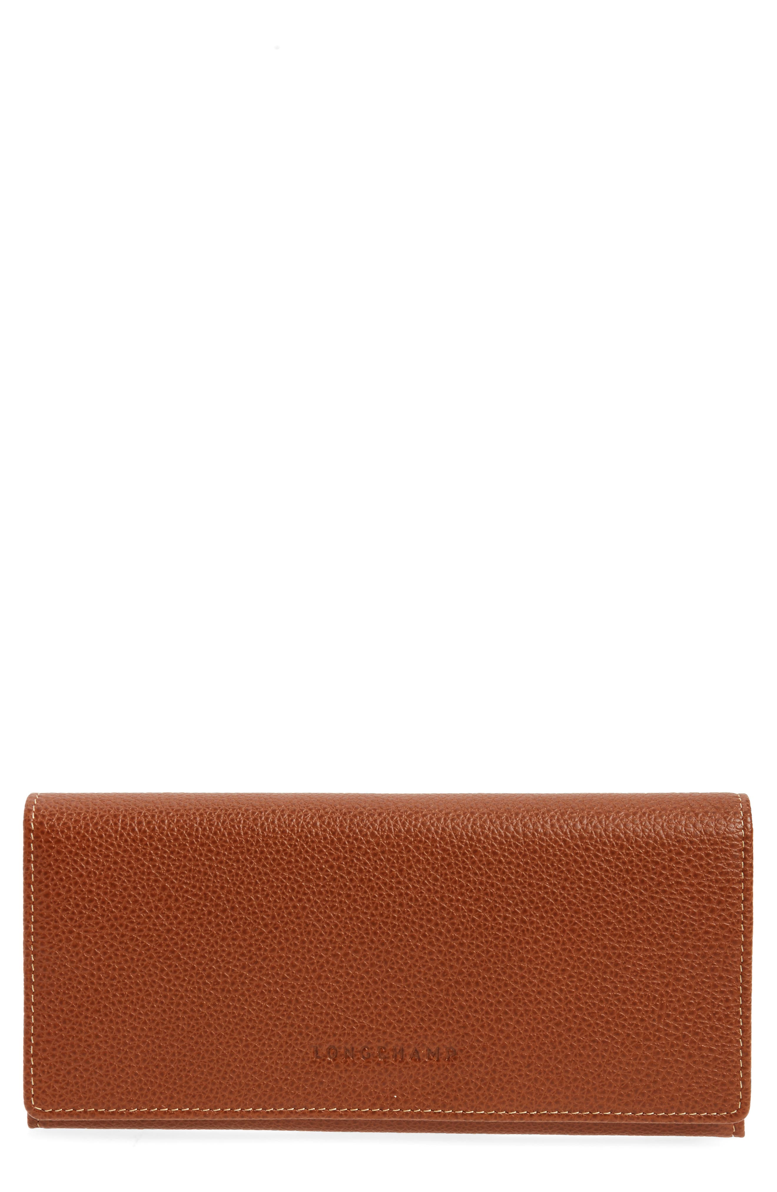 LONGCHAMP, 'Veau' Continental Wallet, Main thumbnail 1, color, COGNAC