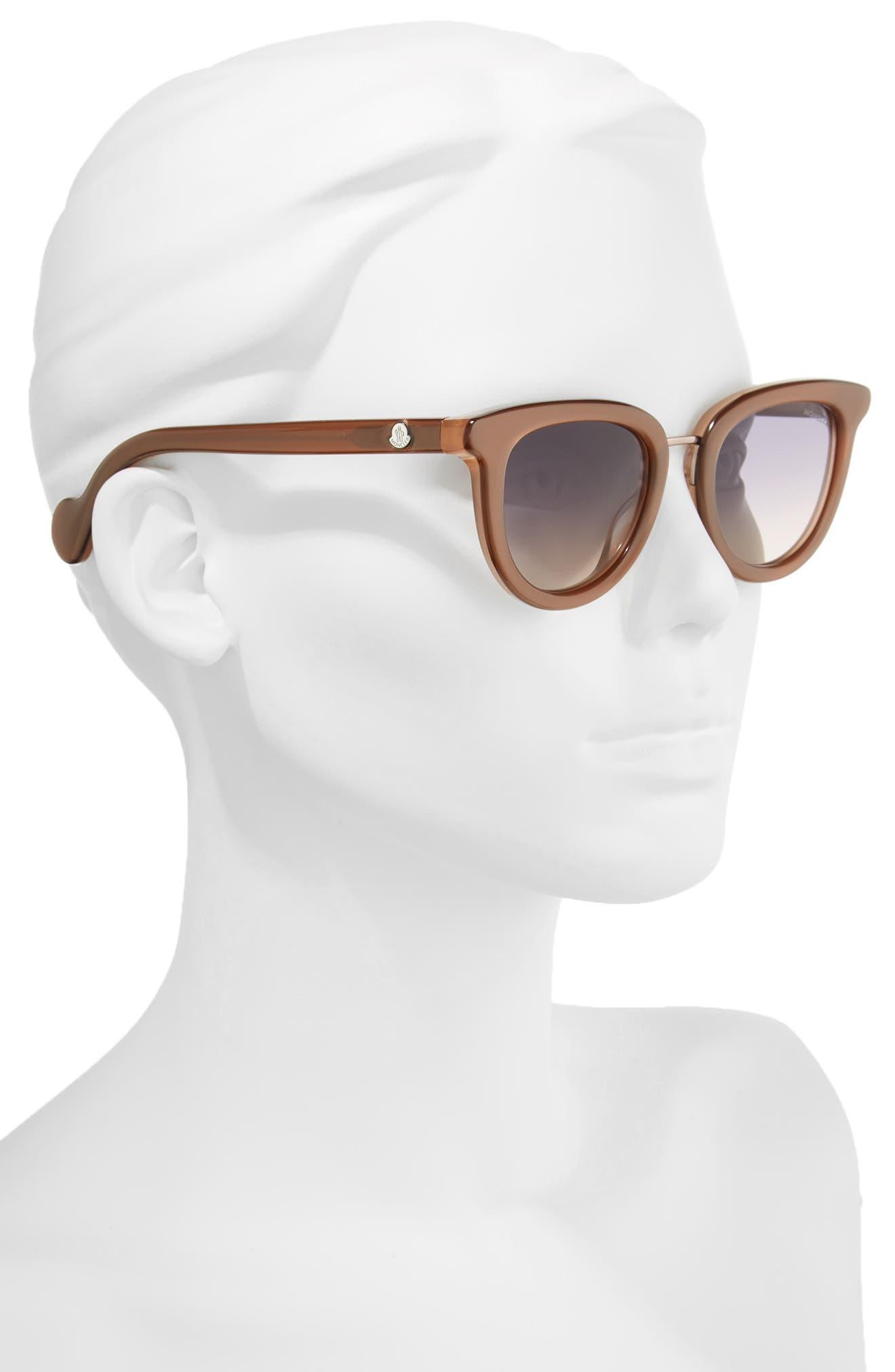 MONCLER, 48mm Cat Eye Sunglasses, Alternate thumbnail 2, color, PEARL BROWN/ GREY/ SAND