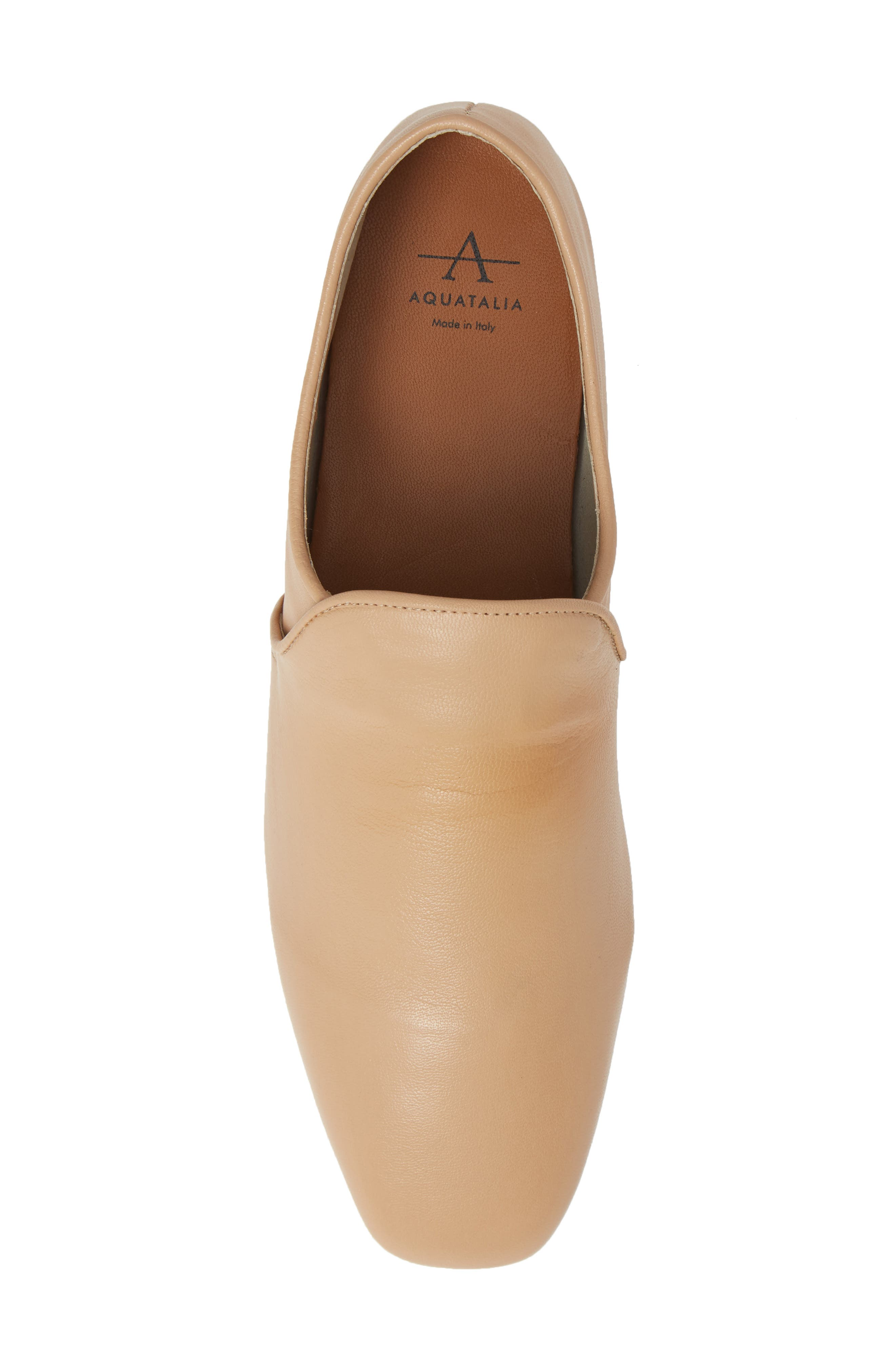 AQUATALIA, Revy Weatherporoof Loafer, Alternate thumbnail 5, color, NUDE NAPPA