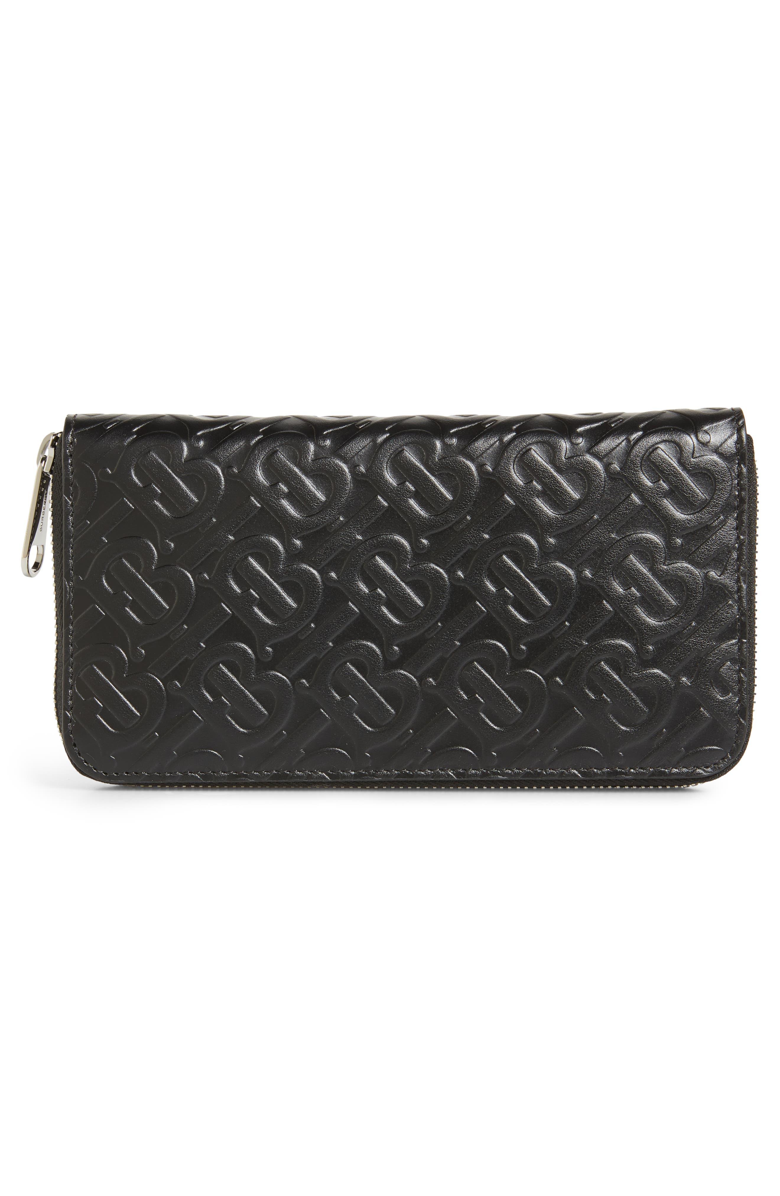 BURBERRY, Large Monogram Leather Wallet, Alternate thumbnail 2, color, BLACK