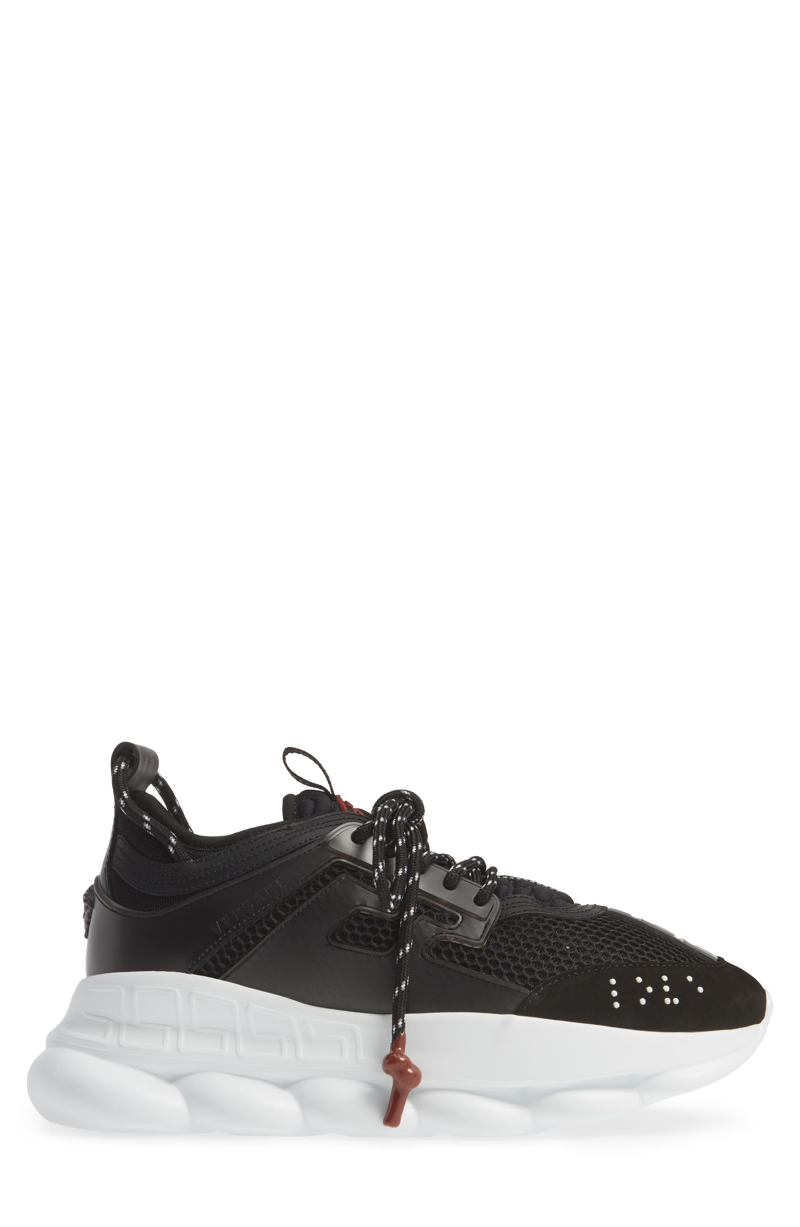 VERSACE FIRST LINE, Versace Chain Reaction Sneaker, Alternate thumbnail 3, color, BLACK/ GREY