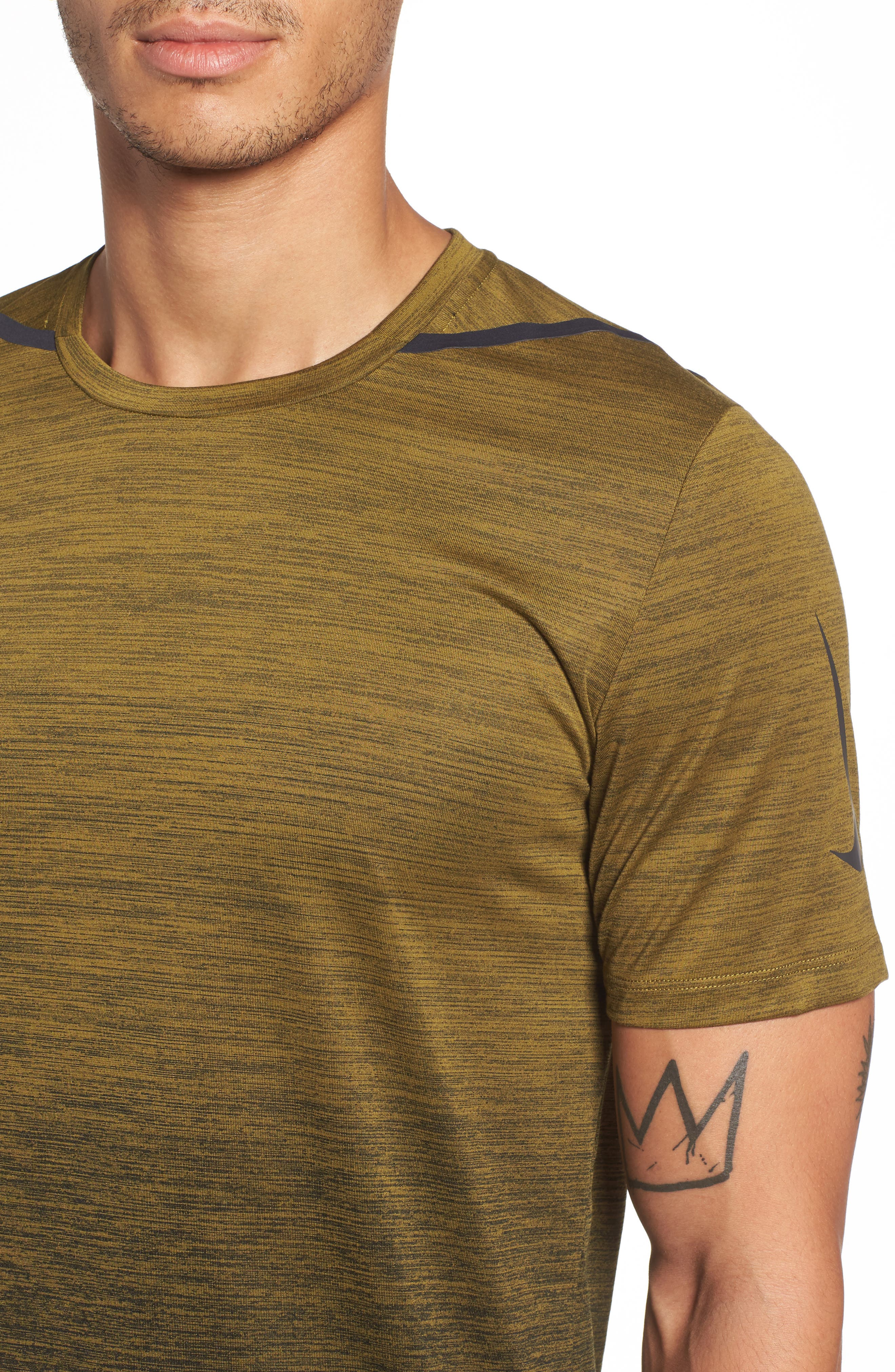 NIKE, Dry Max Training T-Shirt, Alternate thumbnail 4, color, OLIVE FLAK/ BLACK/ COBALT