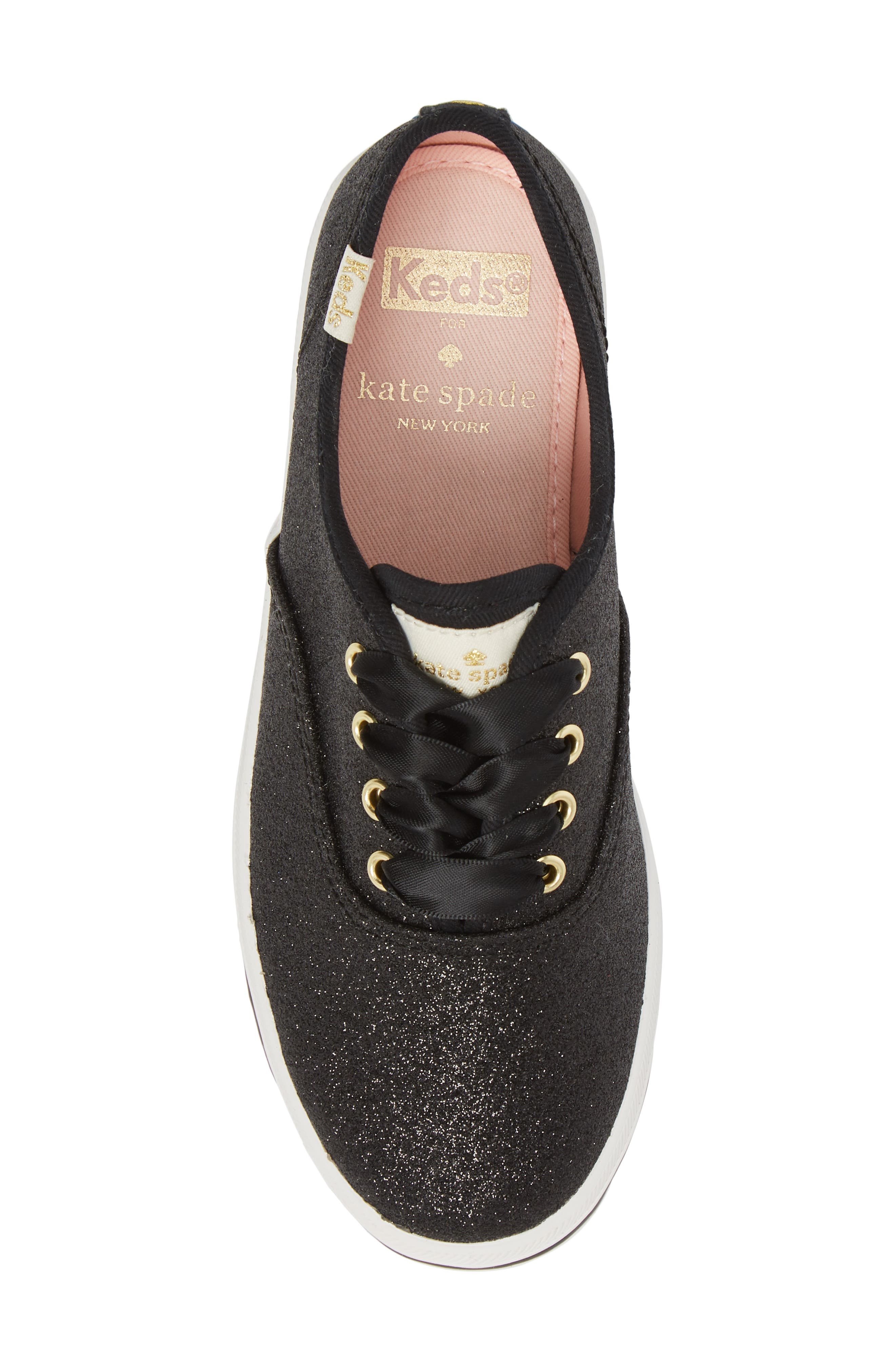KEDS<SUP>®</SUP>, x kate spade new york Champion Glitter Sneaker, Alternate thumbnail 5, color, BLACK