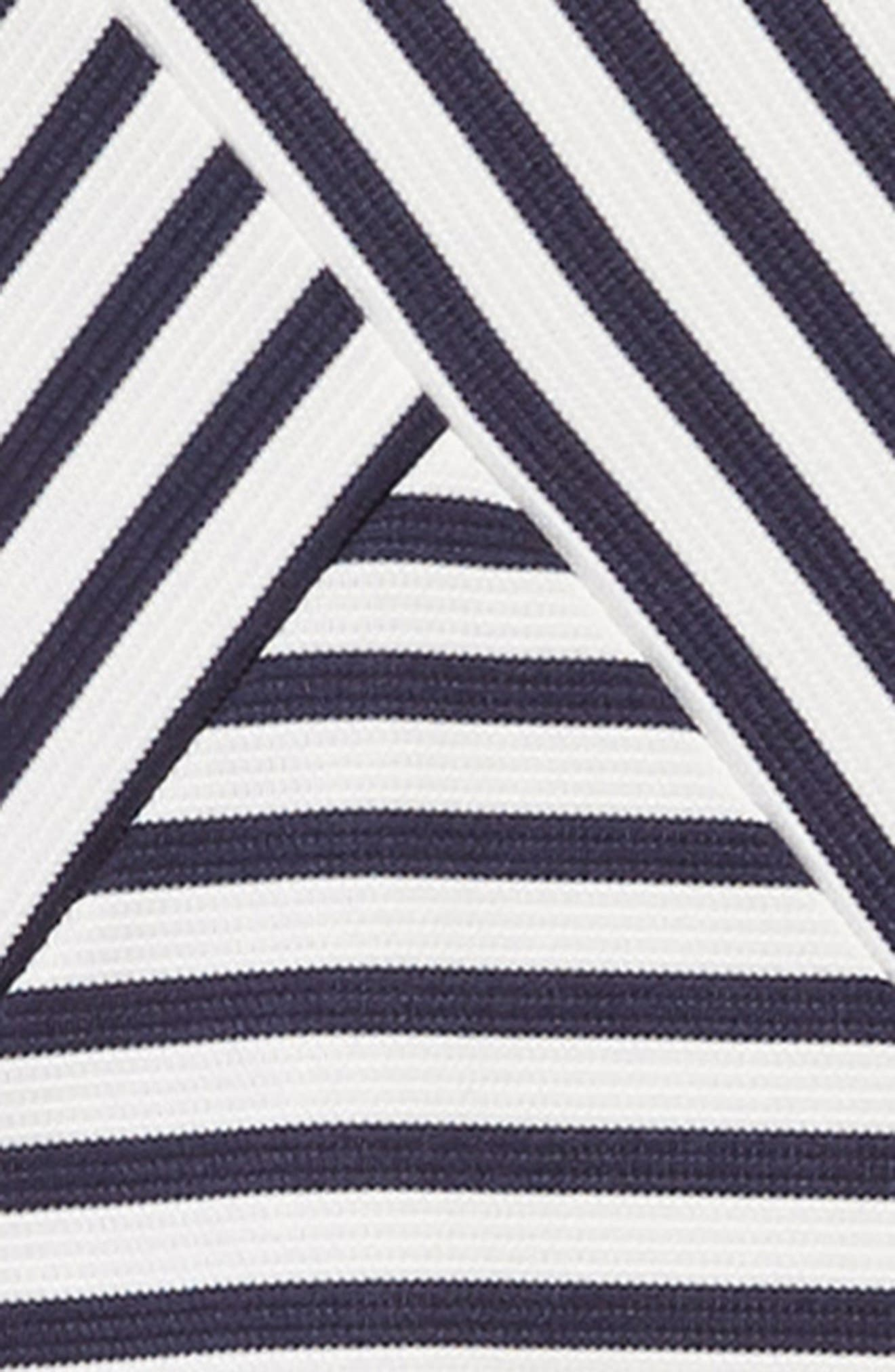 ZUNIE, Stripe Ottoman Skater Dress, Alternate thumbnail 3, color, NAVY/ WHITE