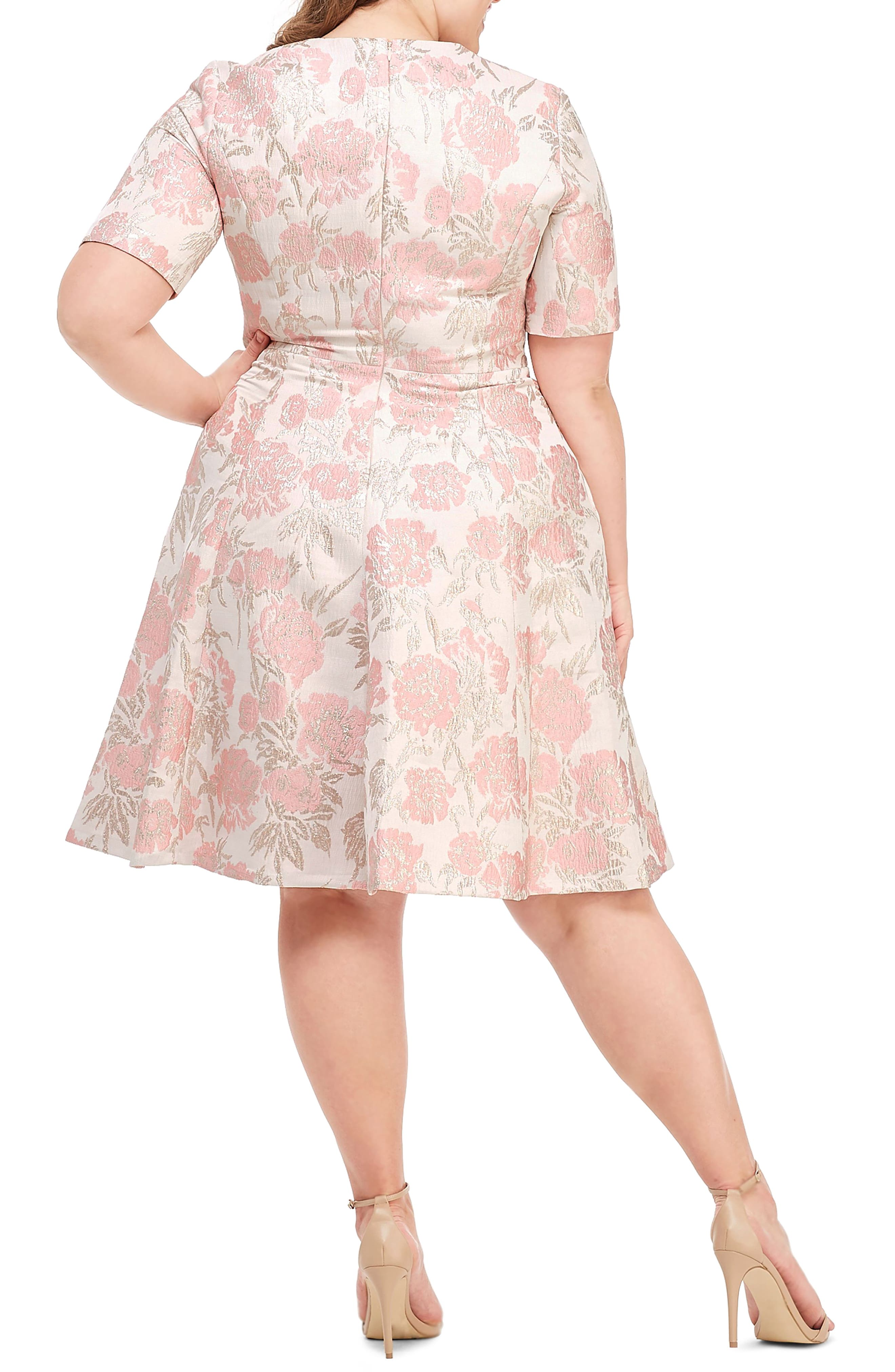 GAL MEETS GLAM COLLECTION, Adair Pink Passion Rose Jacquard Fit & Flare Dress, Alternate thumbnail 8, color, 685
