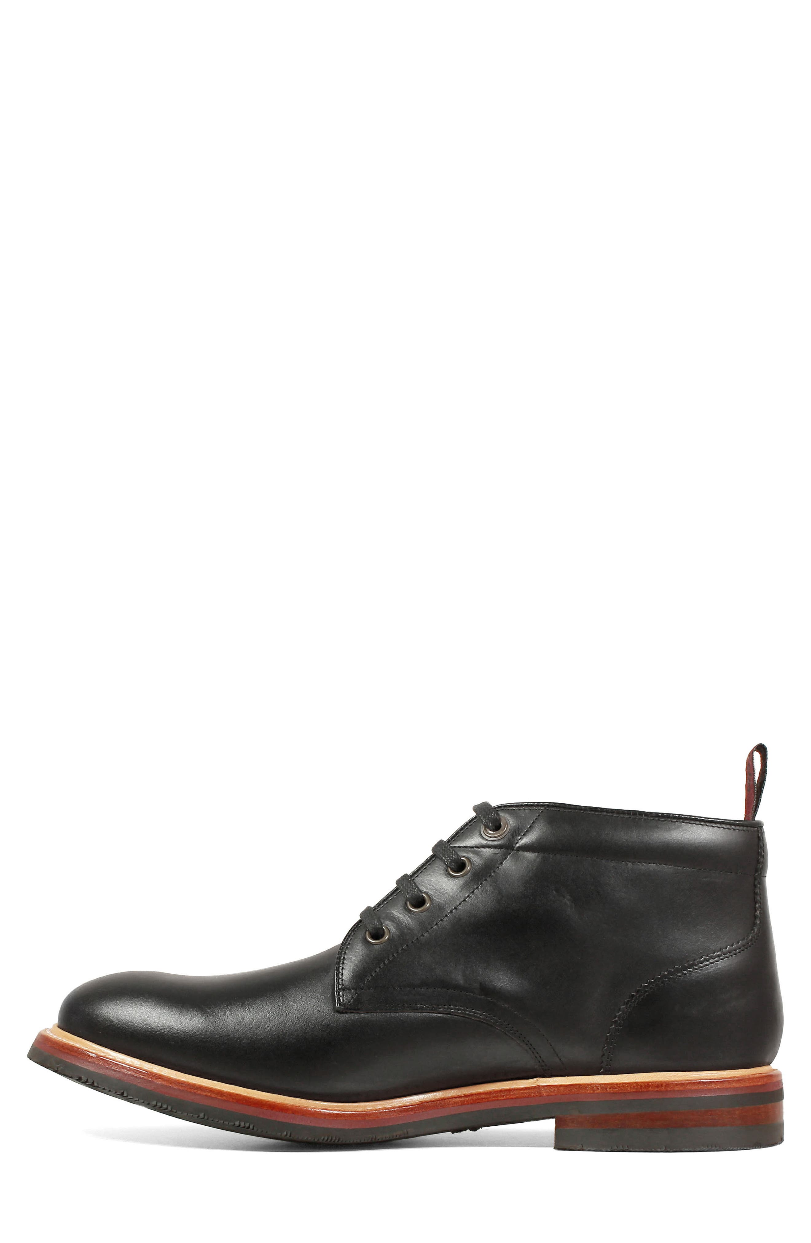 FLORSHEIM, Foundry Leather Boot, Alternate thumbnail 7, color, BLACK LEATHER