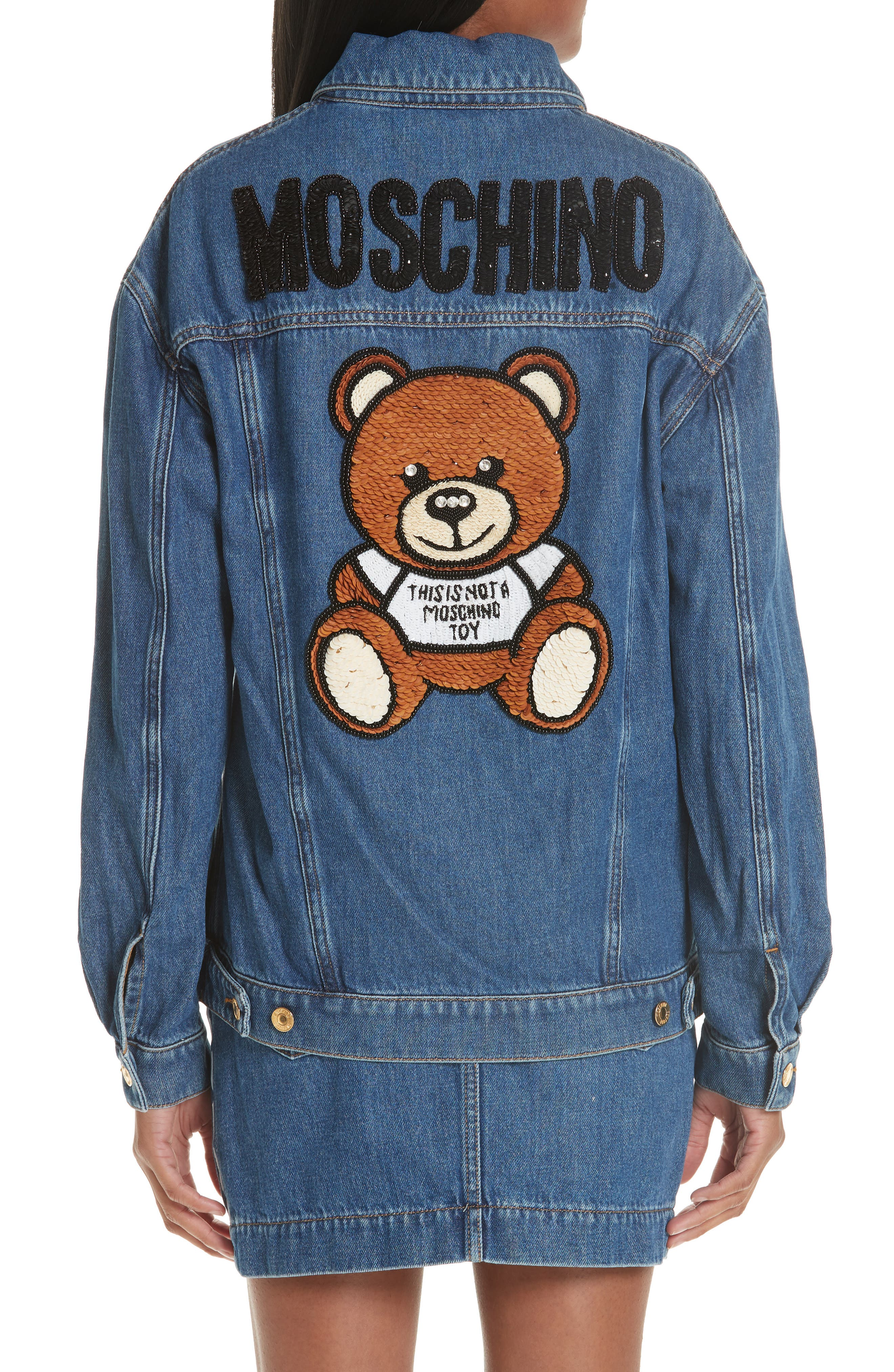 MOSCHINO, Sequin Teddy Denim Jacket, Alternate thumbnail 2, color, DENIM