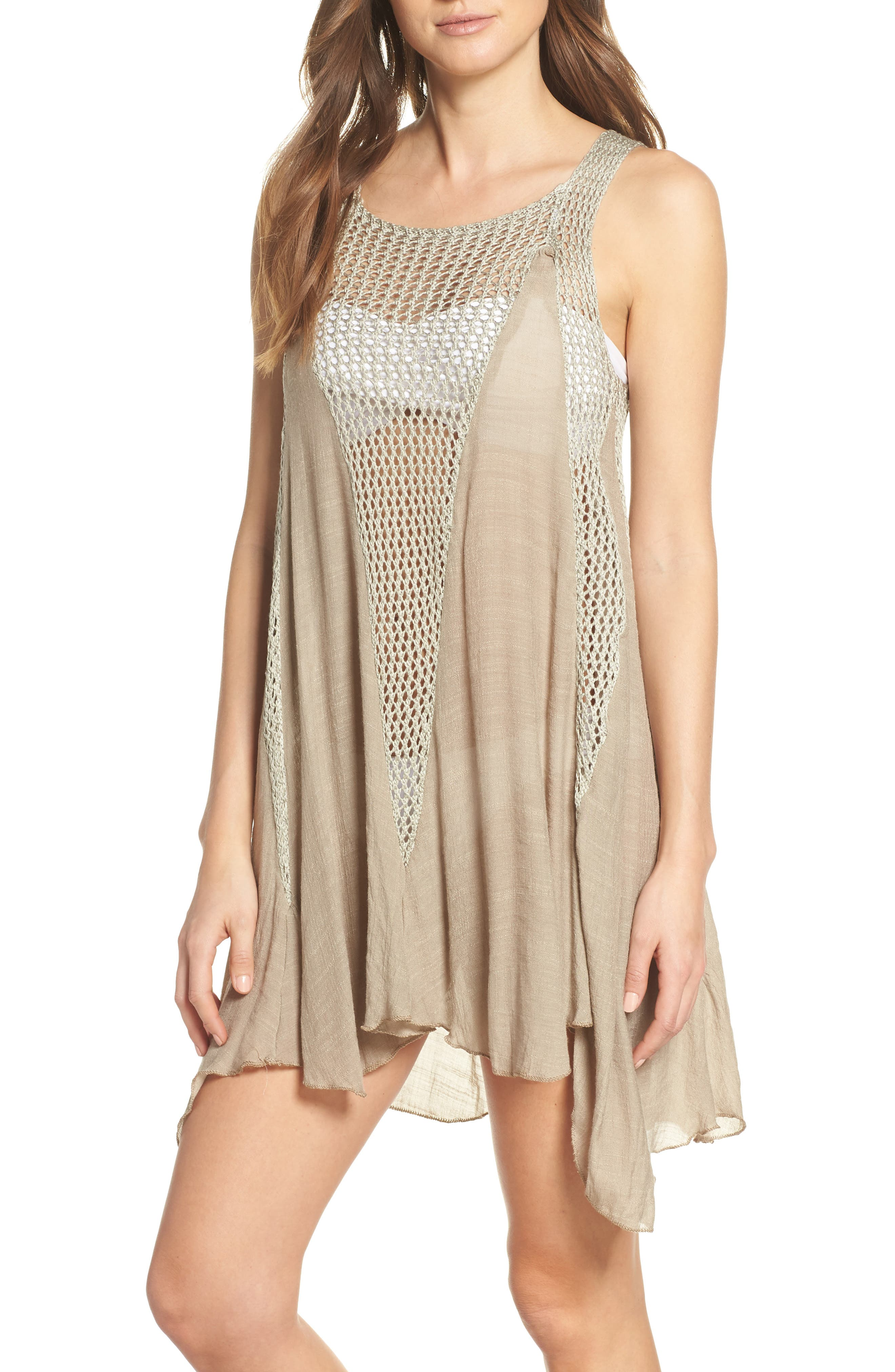 ELAN Crochet Inset Cover-Up Dress, Main, color, SAGE