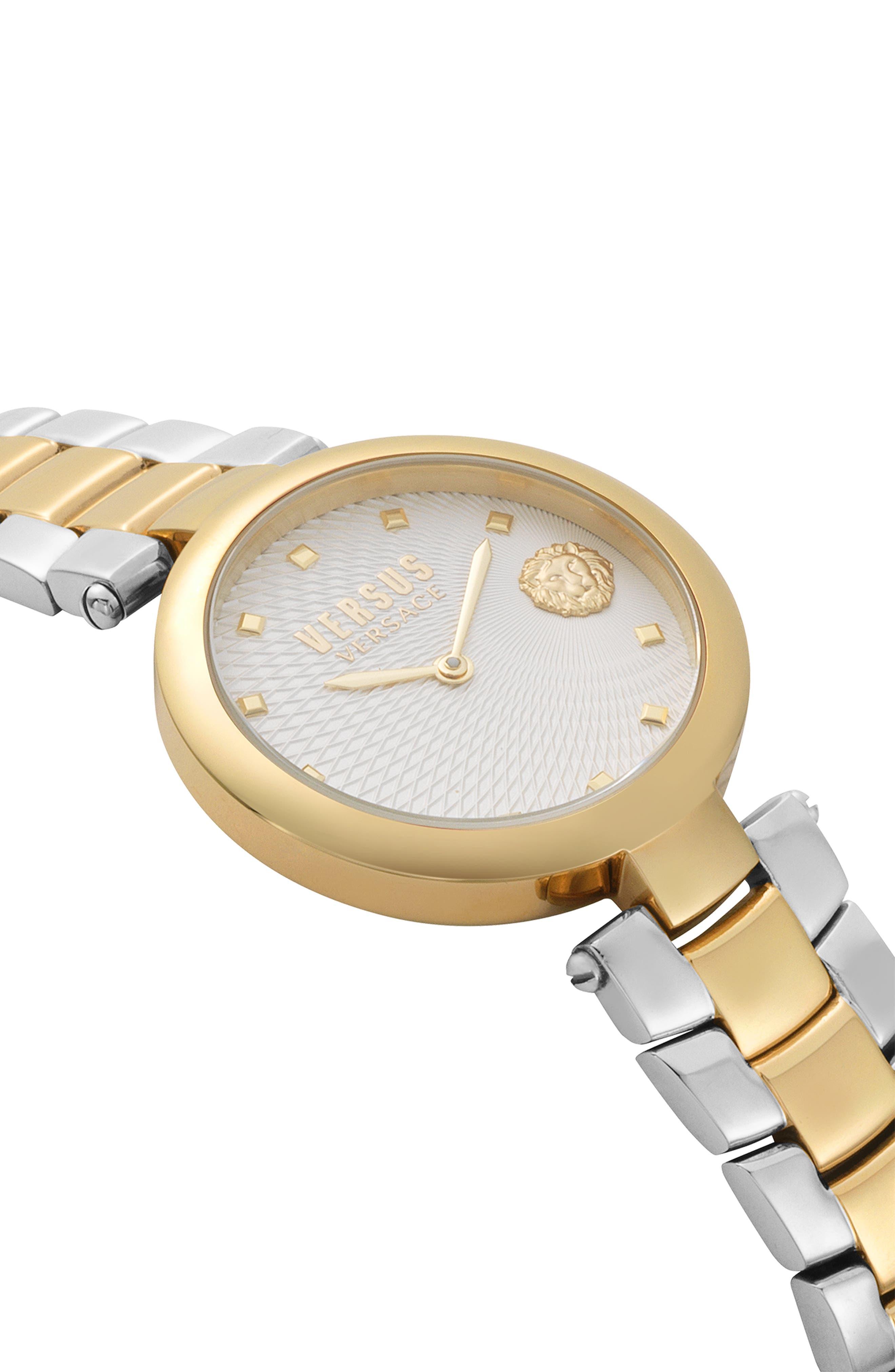 VERSUS VERSACE, Buffle Bay Bracelet Watch, 36mm, Alternate thumbnail 3, color, SILVER/ GOLD