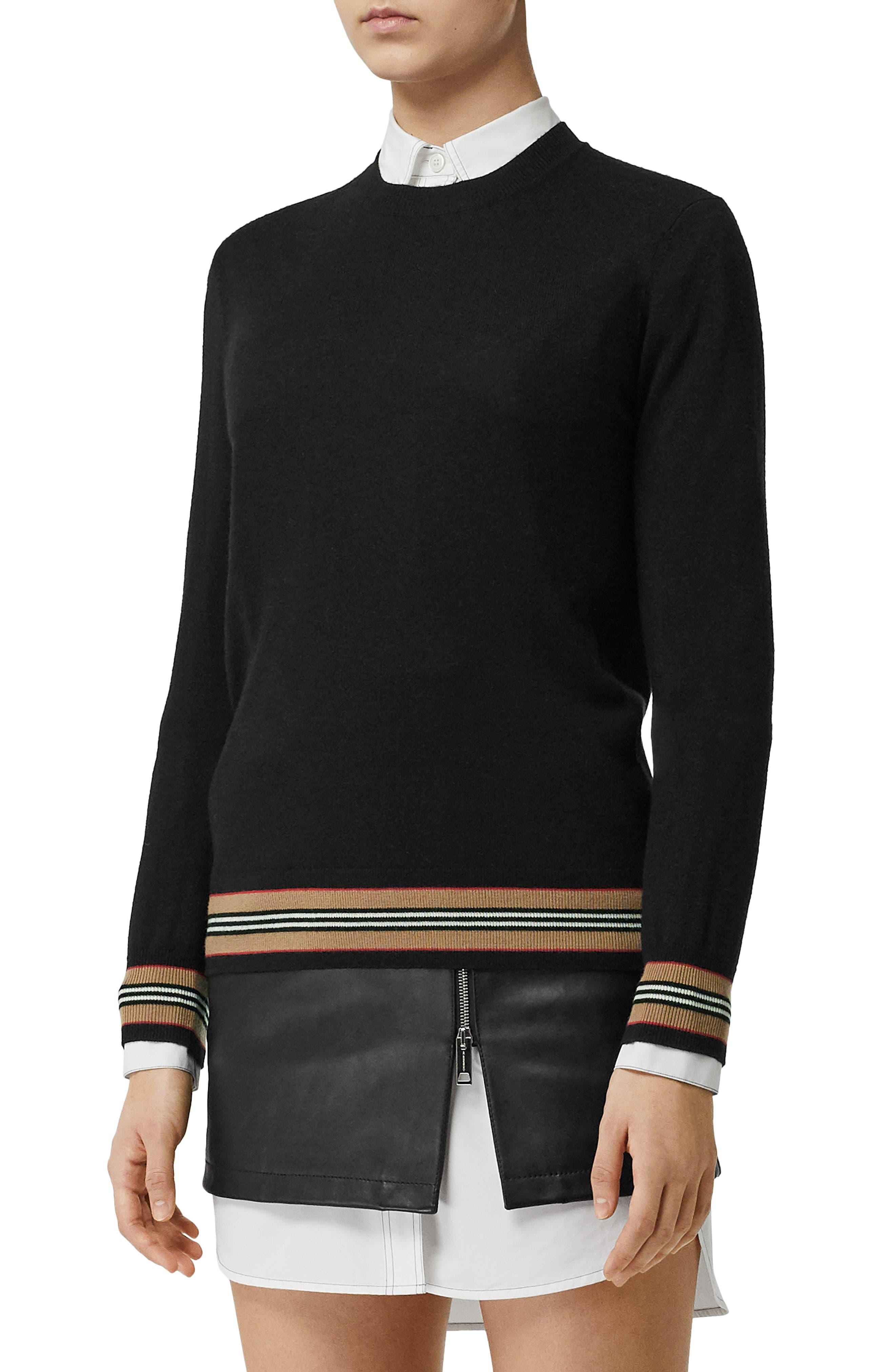 BURBERRY, Stripe Trim Merino Wool Sweater, Main thumbnail 1, color, BLACK