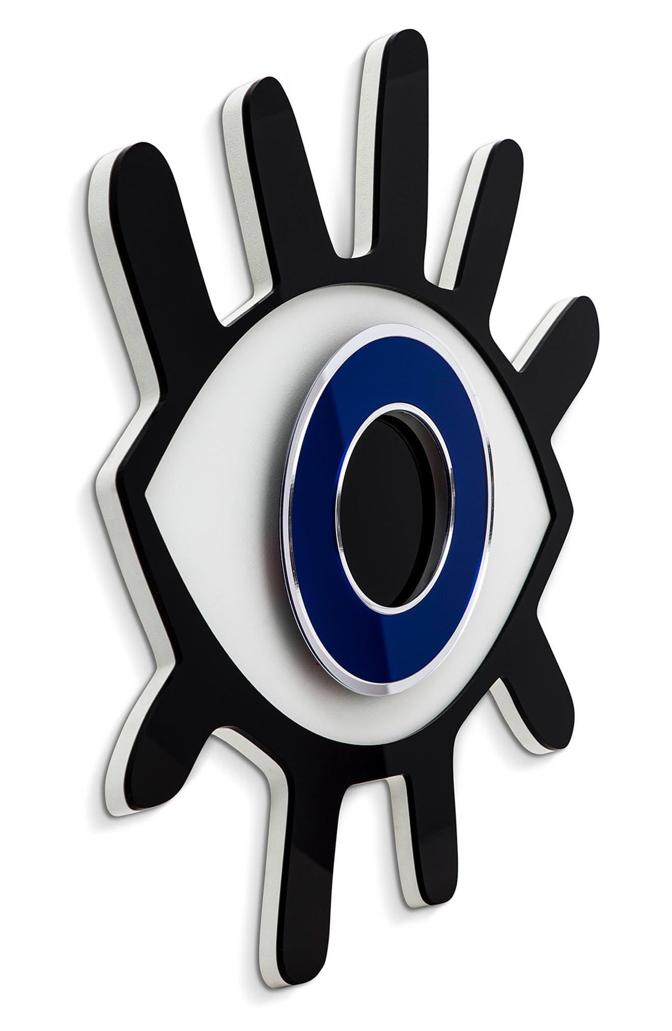 SECTIS DESIGN, Lashed Evil Eye Wall Art, Alternate thumbnail 2, color, BLUE BLACK AND WHITE