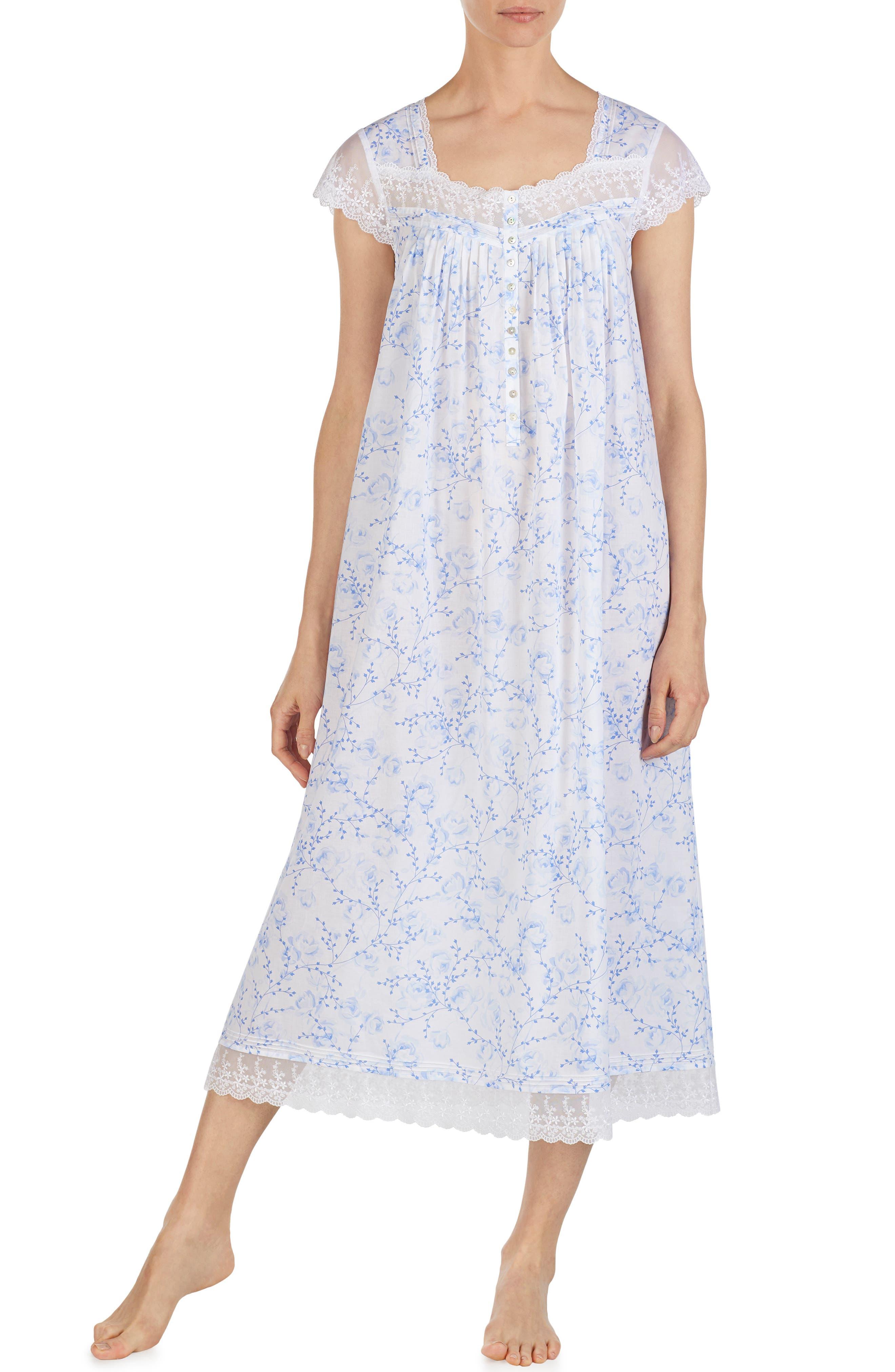 EILEEN WEST, Cotton Lawn Nightgown, Main thumbnail 1, color, BLUE FLORAL