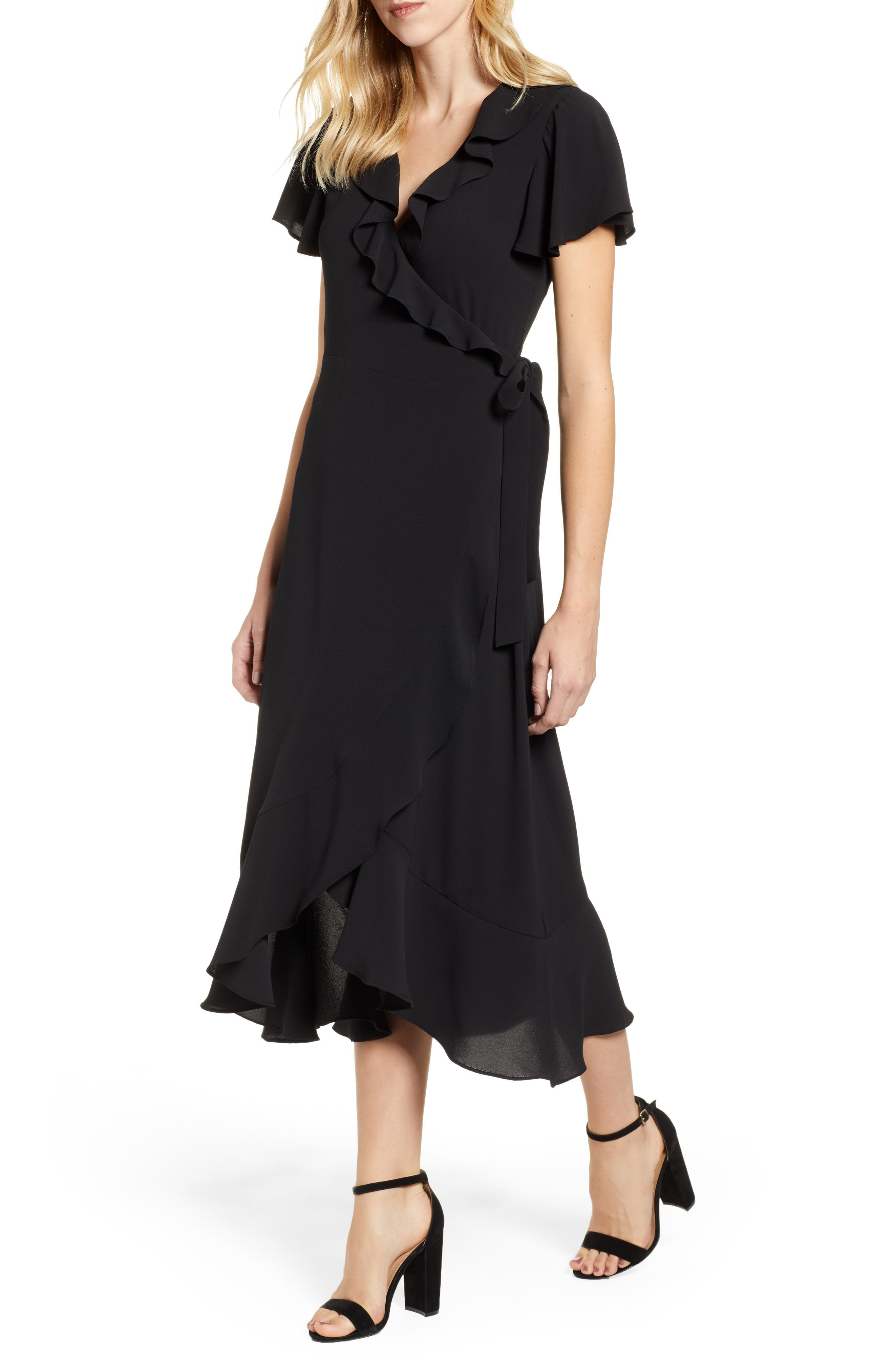 CHELSEA28 Ruffle Wrap Dress, Main, color, BLACK