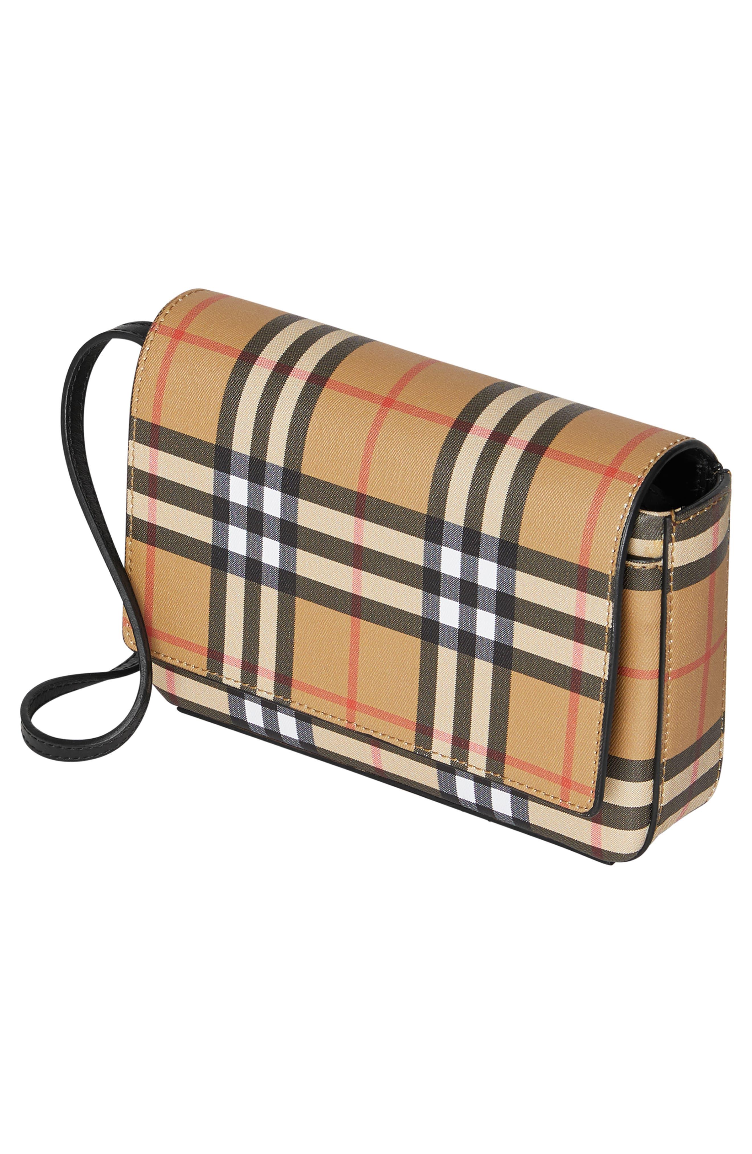 BURBERRY, Hampshire Vintage Check Crossbody Bag, Alternate thumbnail 5, color, BLACK