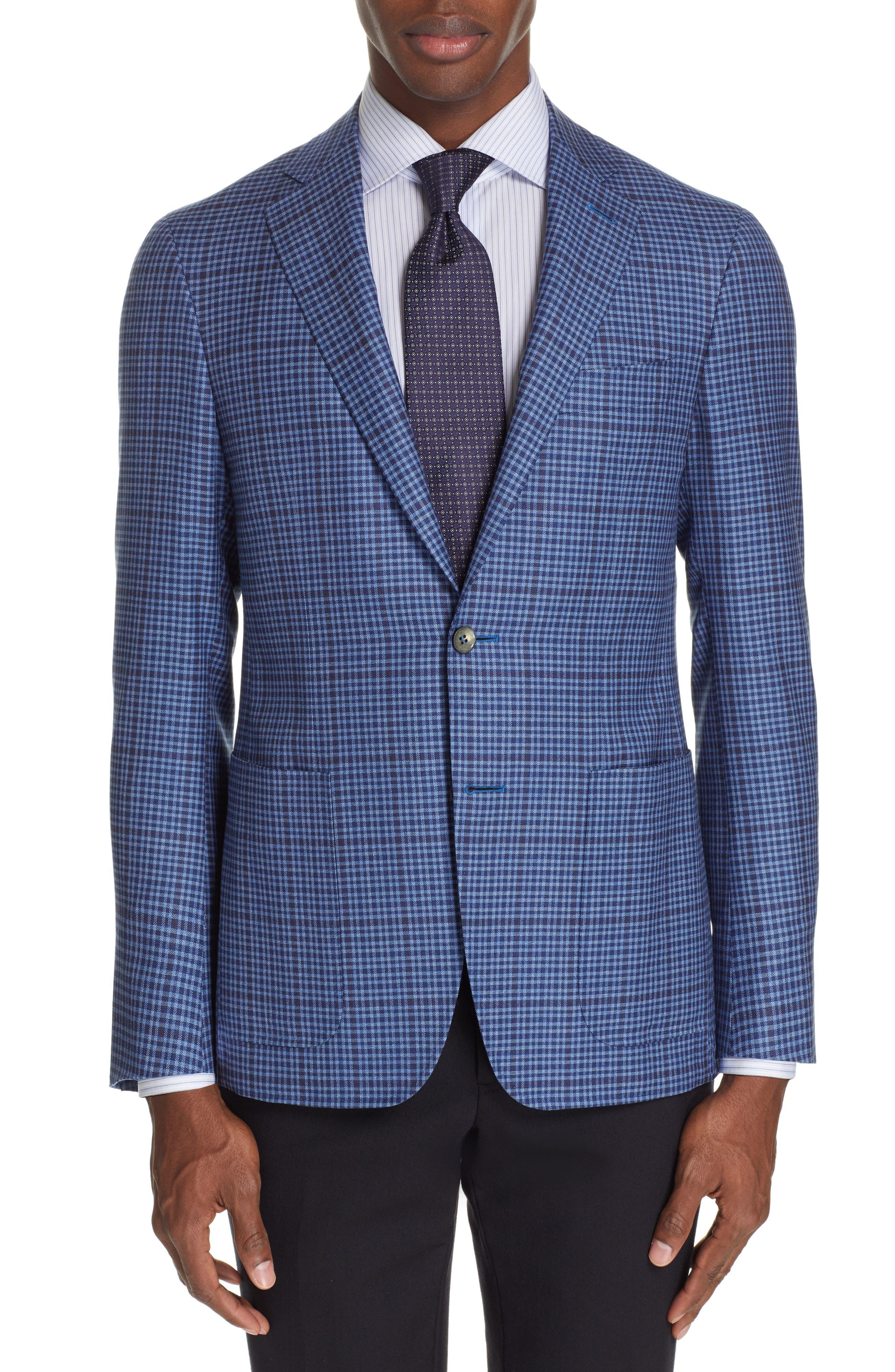 CANALI, Kei Classic Fit Check Wool Sport Coat, Main thumbnail 1, color, BLUE