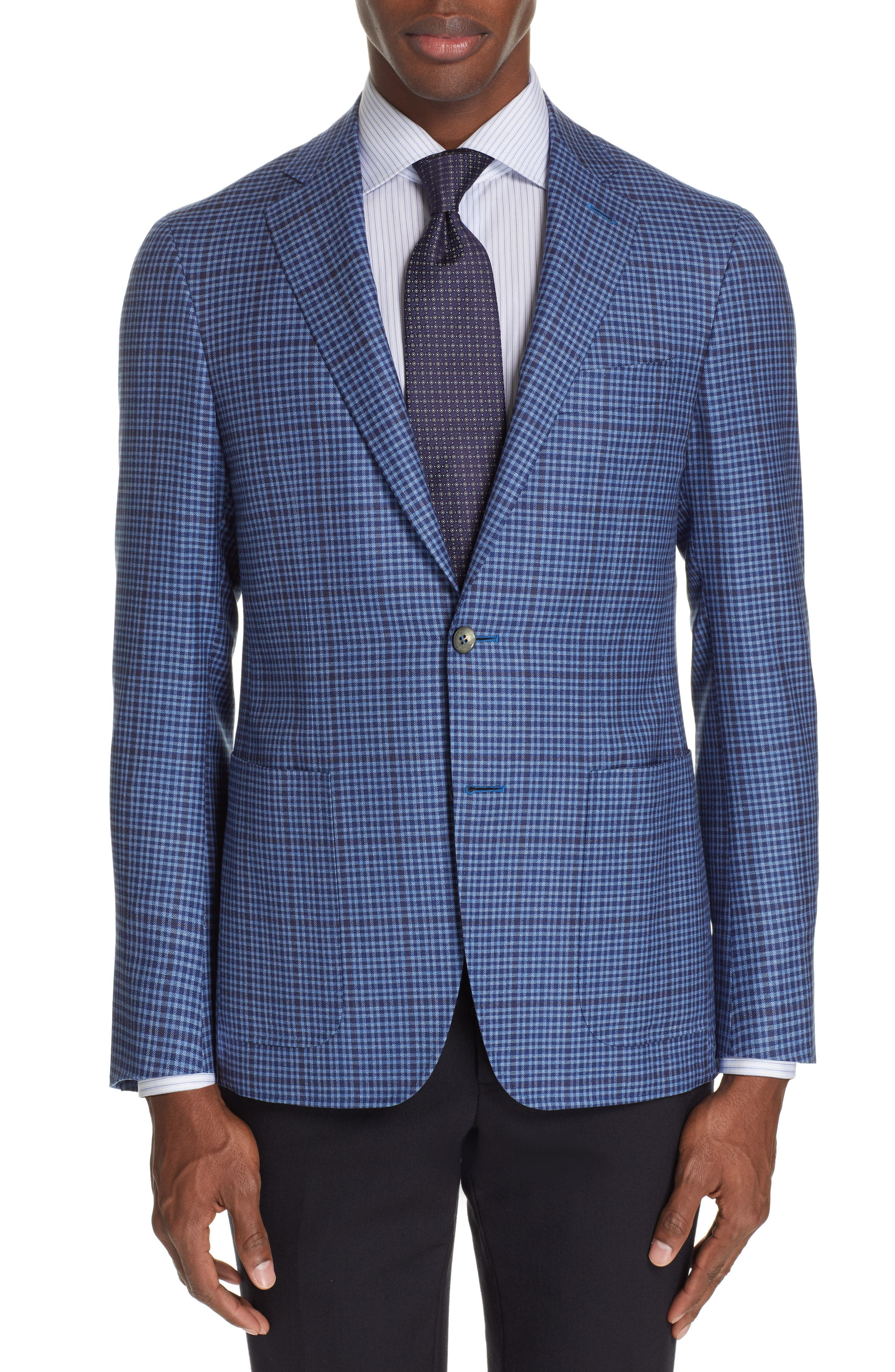 CANALI Kei Classic Fit Check Wool Sport Coat, Main, color, BLUE