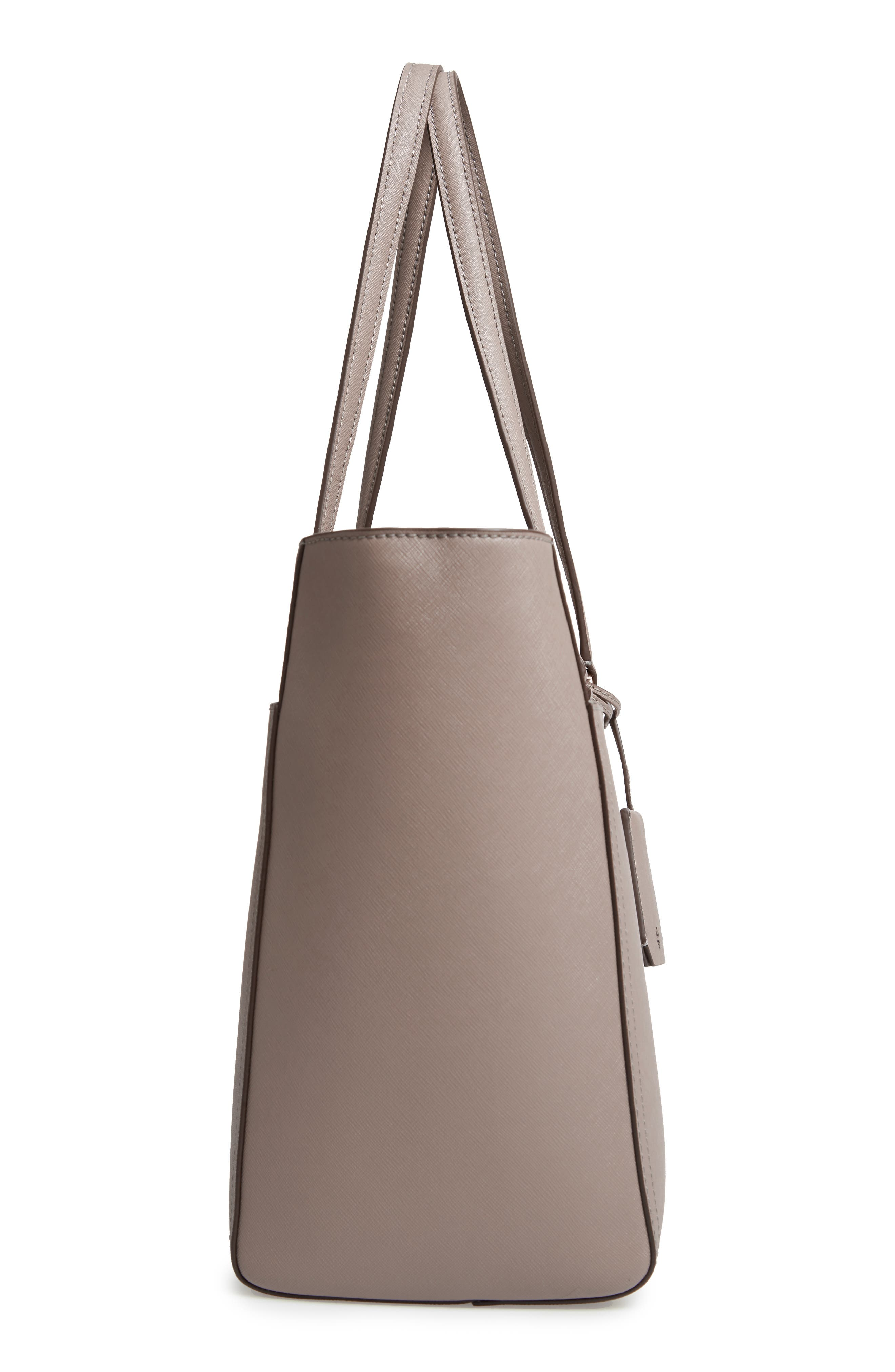 TORY BURCH, Robinson Leather Tote, Alternate thumbnail 6, color, GRAY HERON