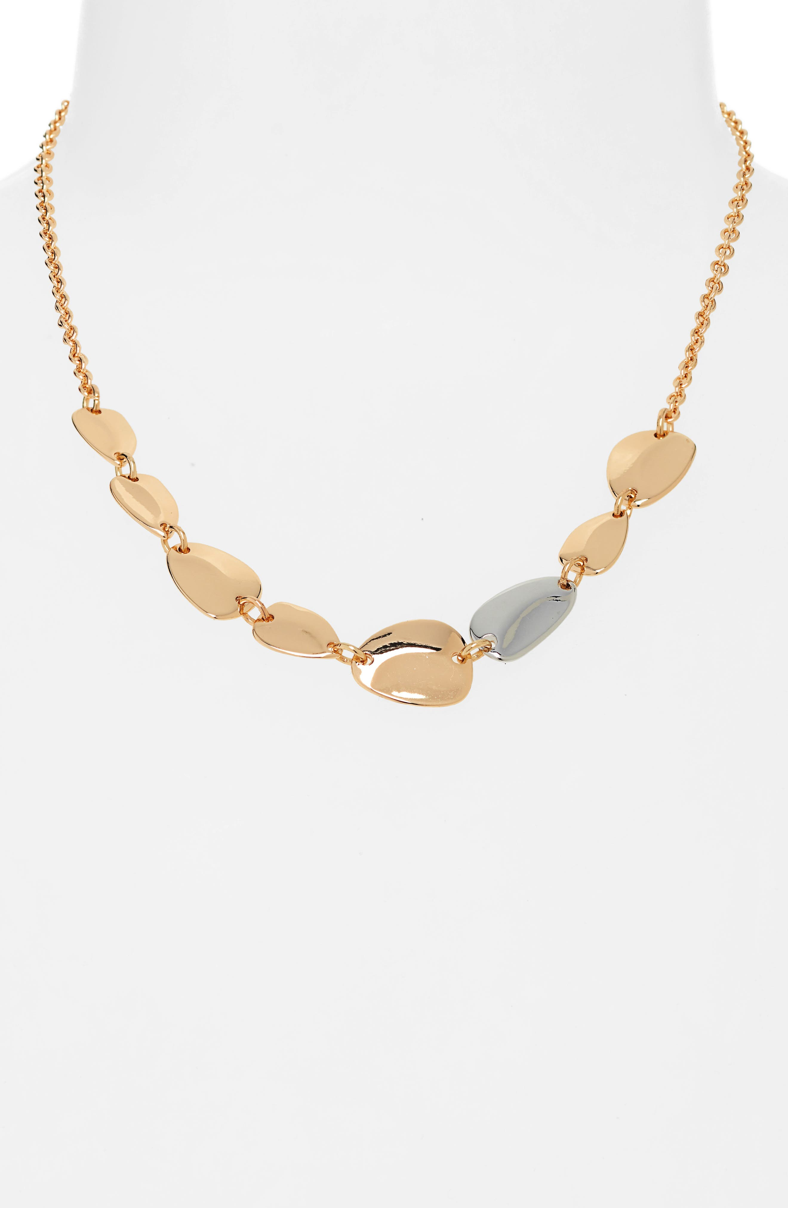 HALOGEN<SUP>®</SUP>, Two-Tone Disc Collar Necklace, Alternate thumbnail 2, color, GOLD- RHODIUM