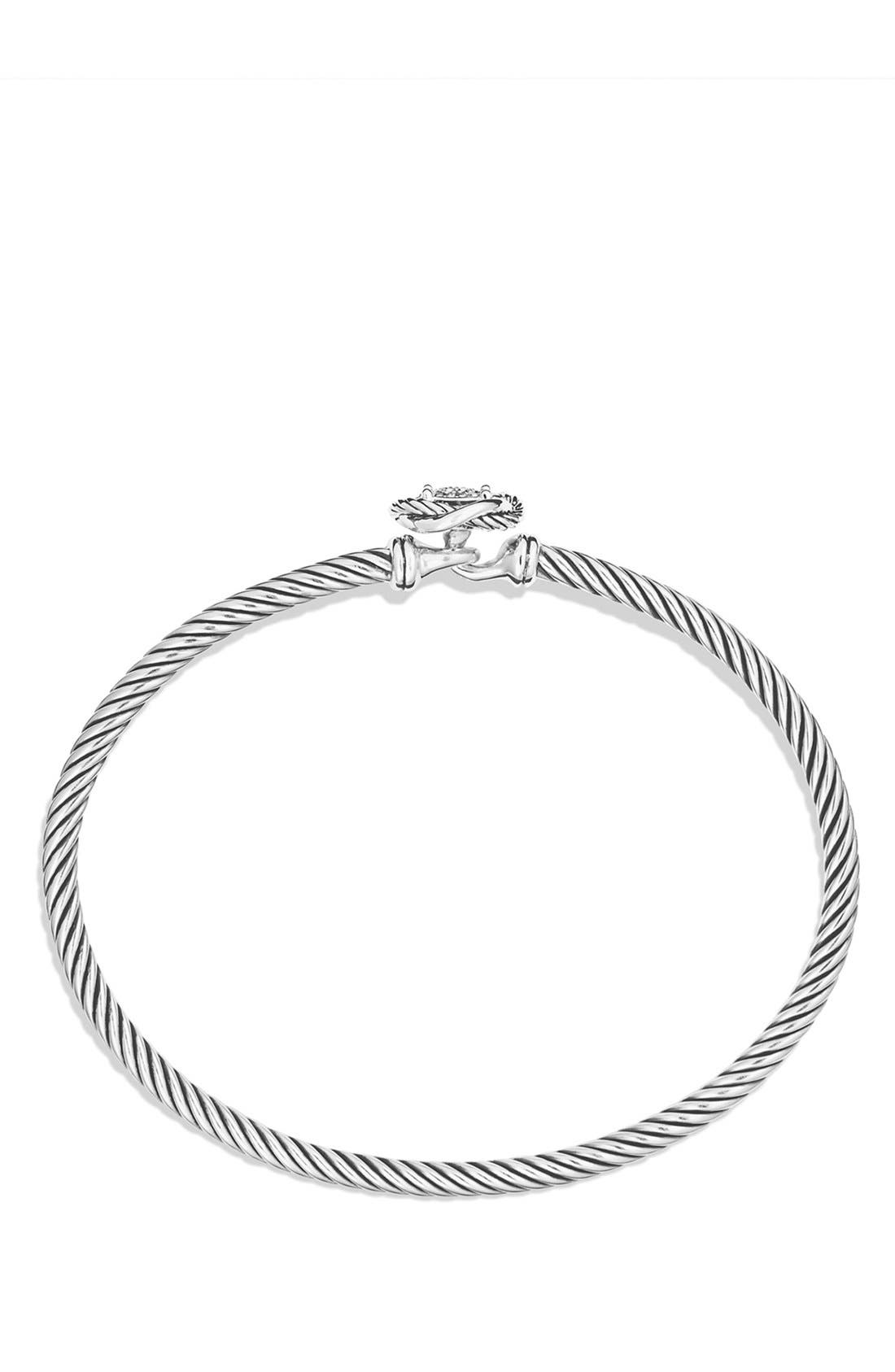 DAVID YURMAN, 'Infinity' Bracelet with Diamonds, Alternate thumbnail 3, color, DIAMOND