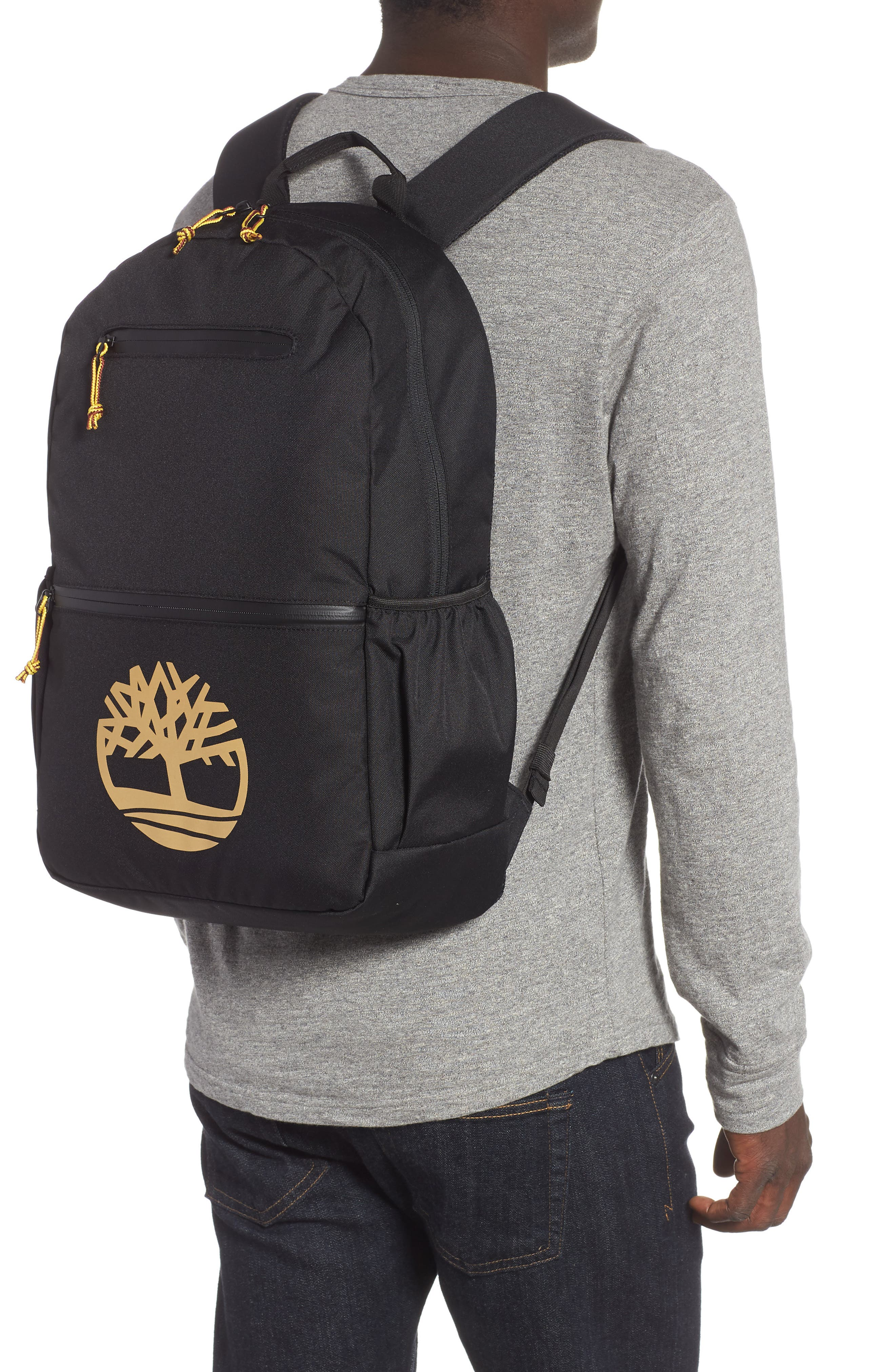TIMBERLAND, Logo Graphic Water Resistant Backpack, Alternate thumbnail 2, color, BLACK