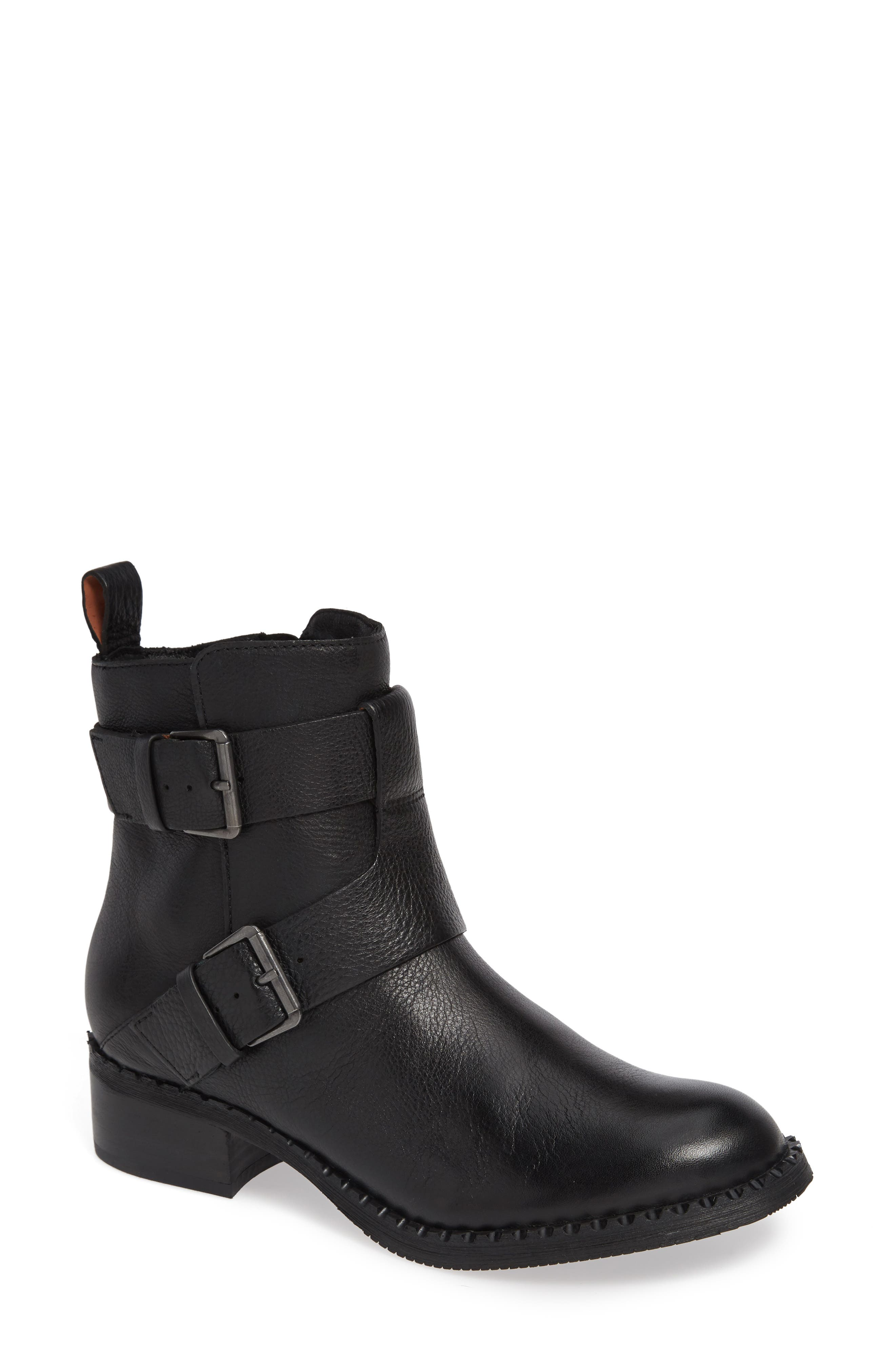 GENTLE SOULS BY KENNETH COLE, Benton Moto Bootie, Main thumbnail 1, color, BLACK LEATHER