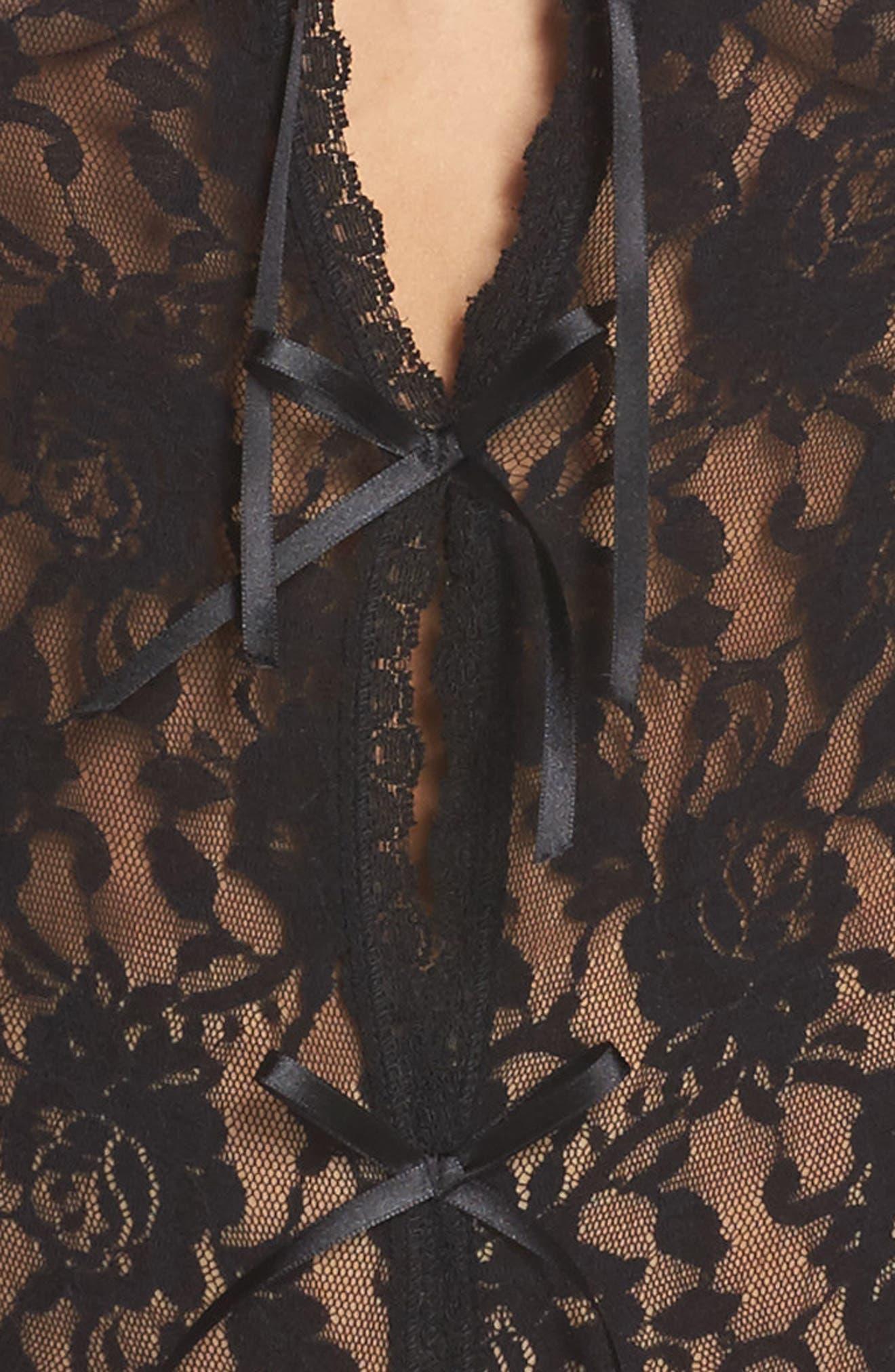 HANKY PANKY, 'Signature Lace' Open Gusset Teddy, Alternate thumbnail 4, color, BLACK