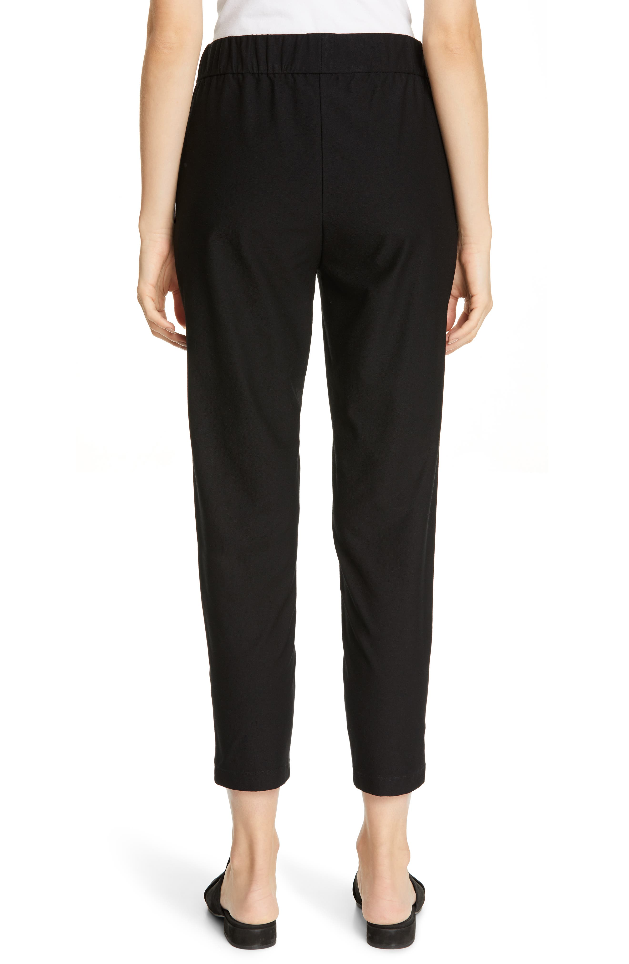 EILEEN FISHER, Tapered Ankle Pants, Alternate thumbnail 2, color, BLACK